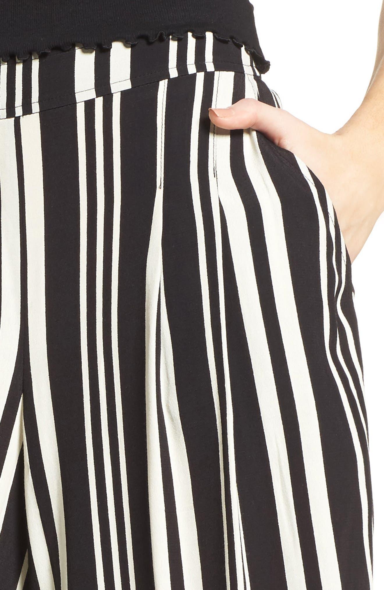 Split Leg Pants,                             Alternate thumbnail 4, color,                             Black Bold Wide Sripe