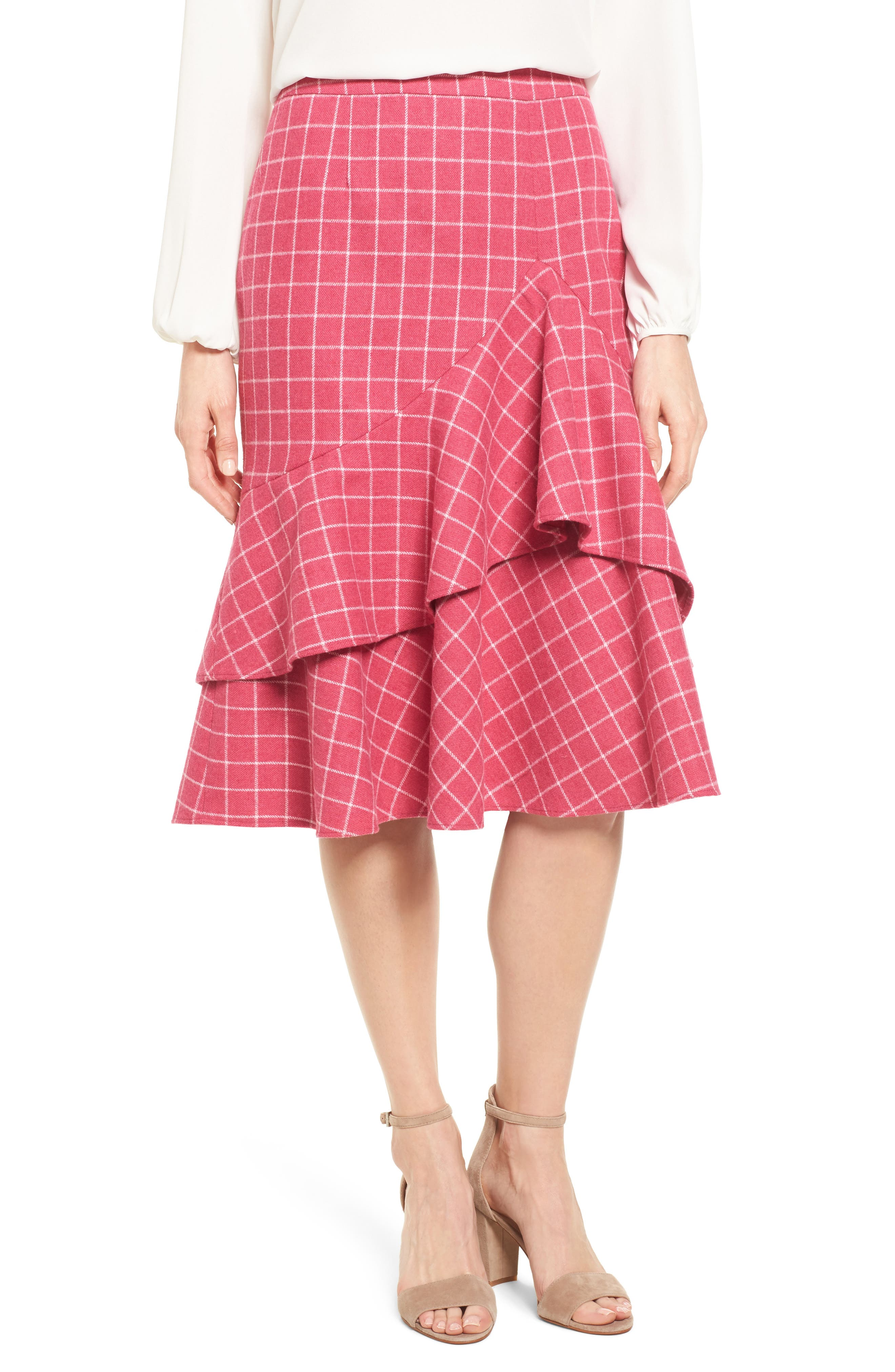 Windowpane Print Ruffle Skirt,                             Main thumbnail 1, color,                             Pink Windowpane