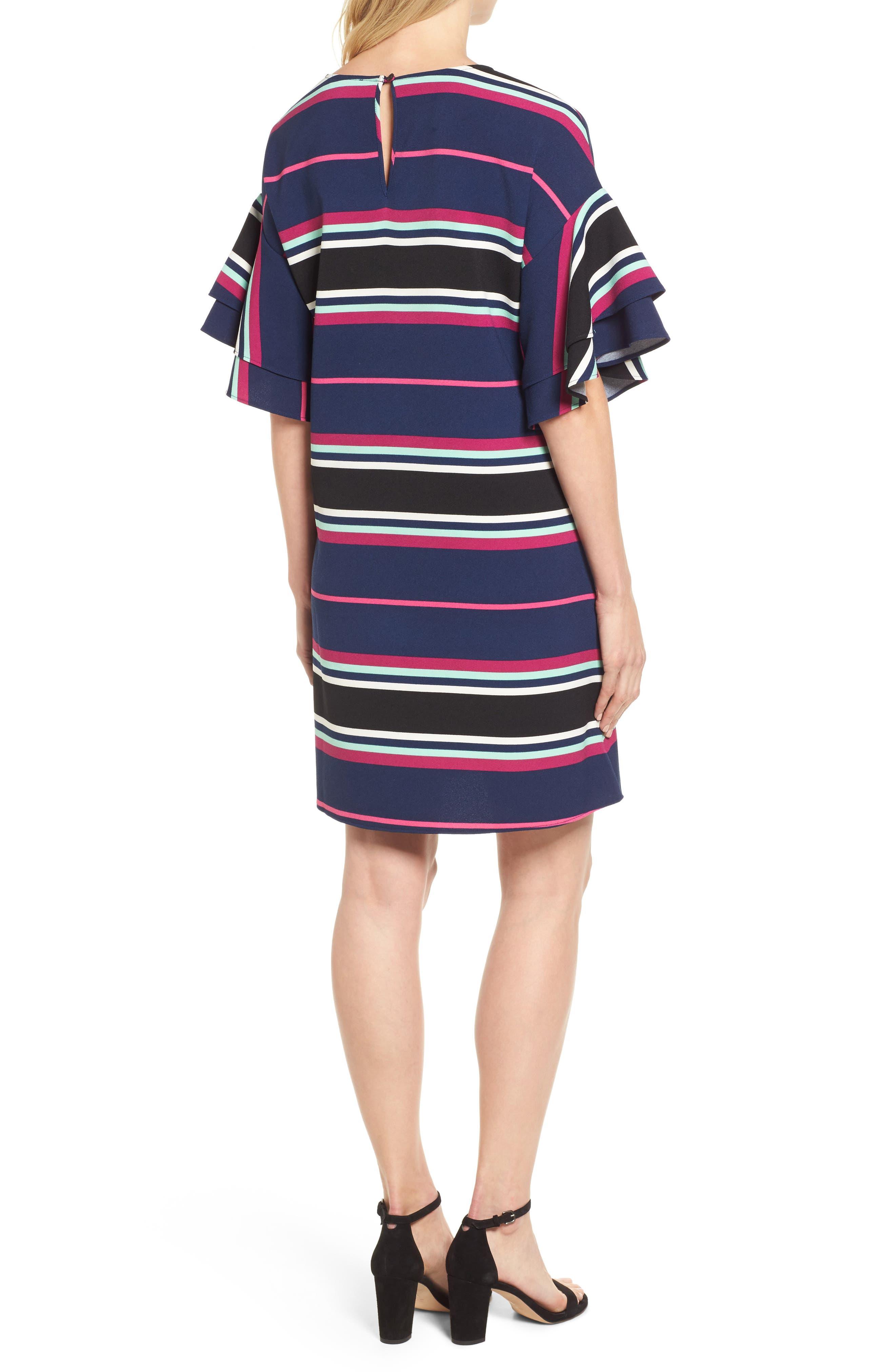 Ruffle Sleeve Shift Dress,                             Alternate thumbnail 2, color,                             Navy- Pink Multi Stripe