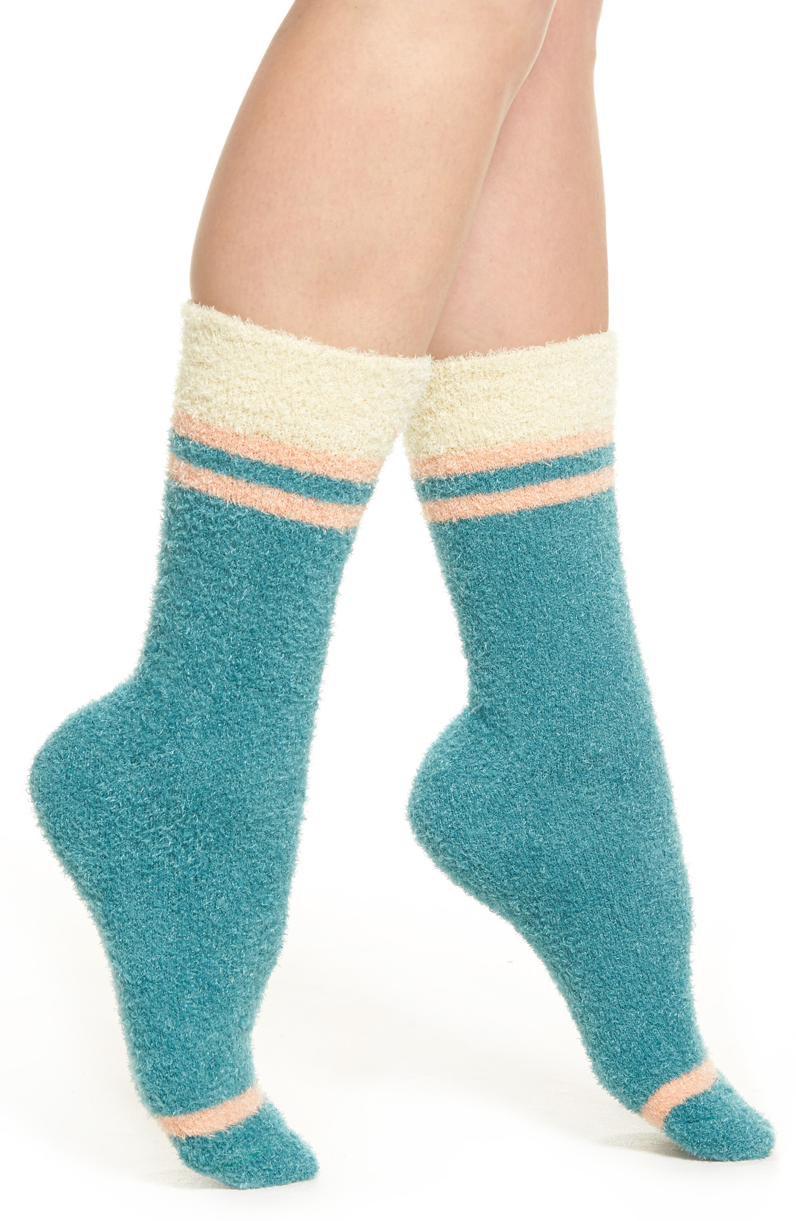 Dreamboat Slipper Socks,                         Main,                         color, Turquoise