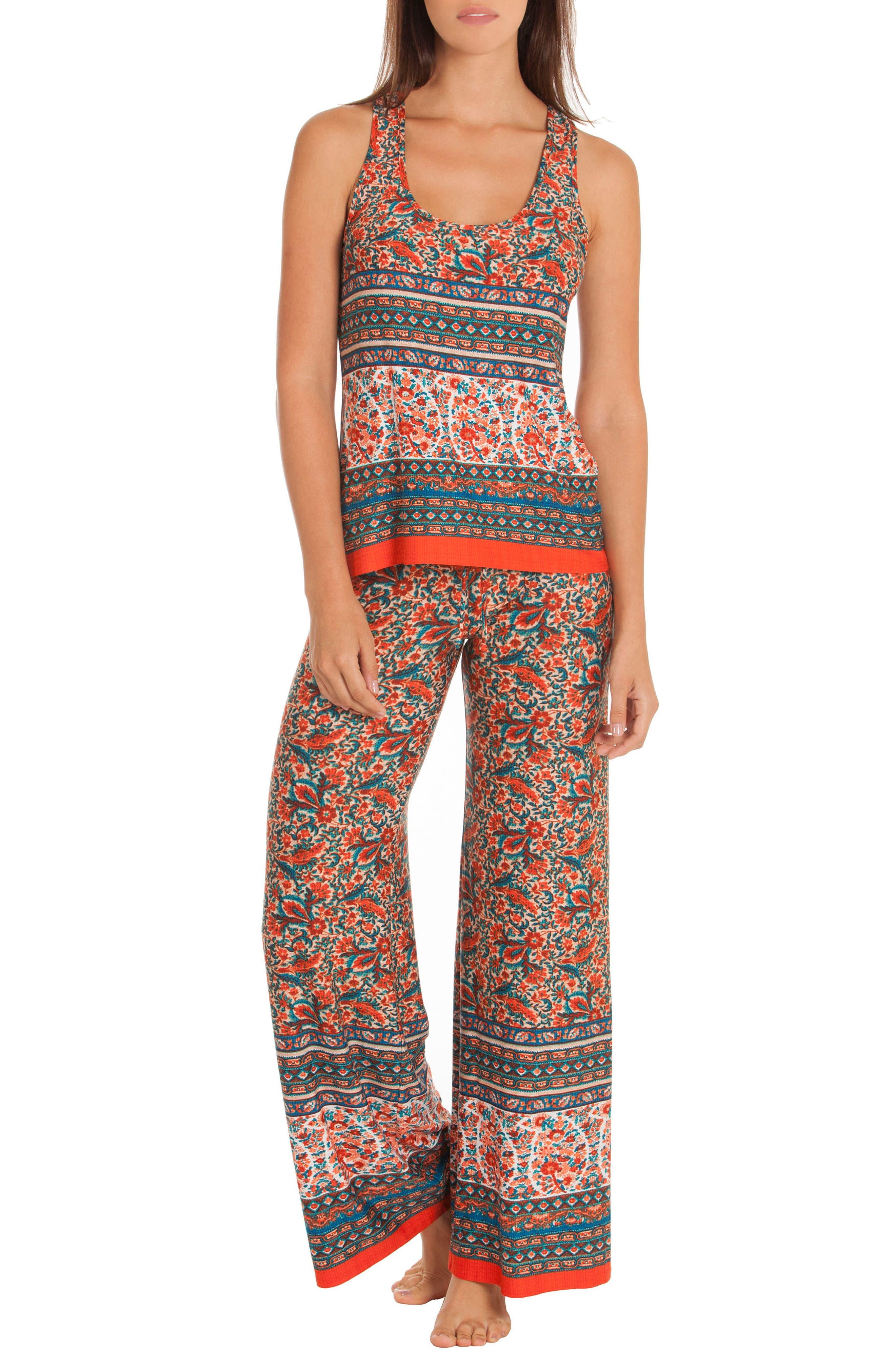 Print Pajamas,                             Main thumbnail 1, color,                             Folkloric Floral