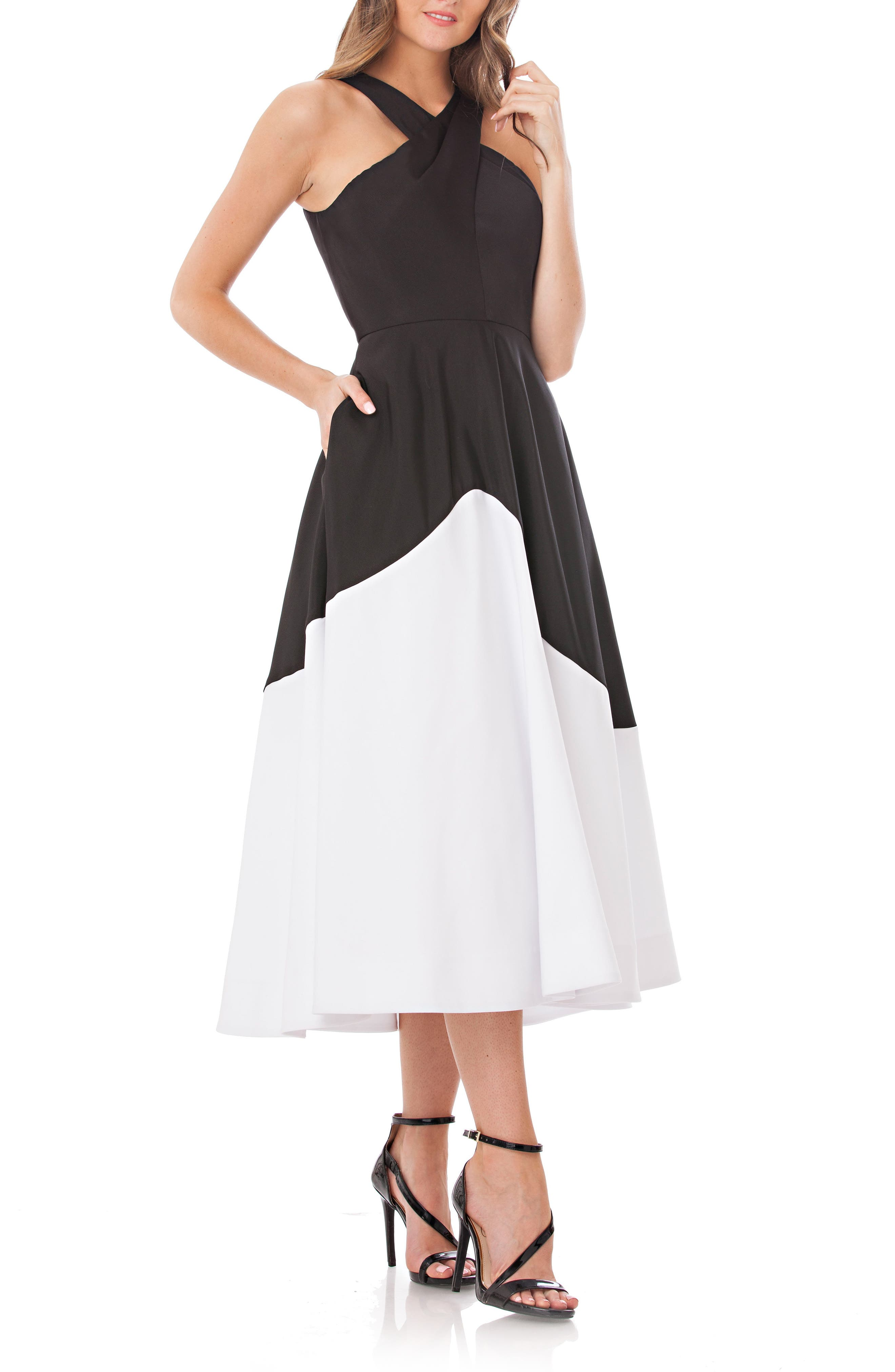 Colorblock A-Line Dress,                             Main thumbnail 1, color,                             Black/ White