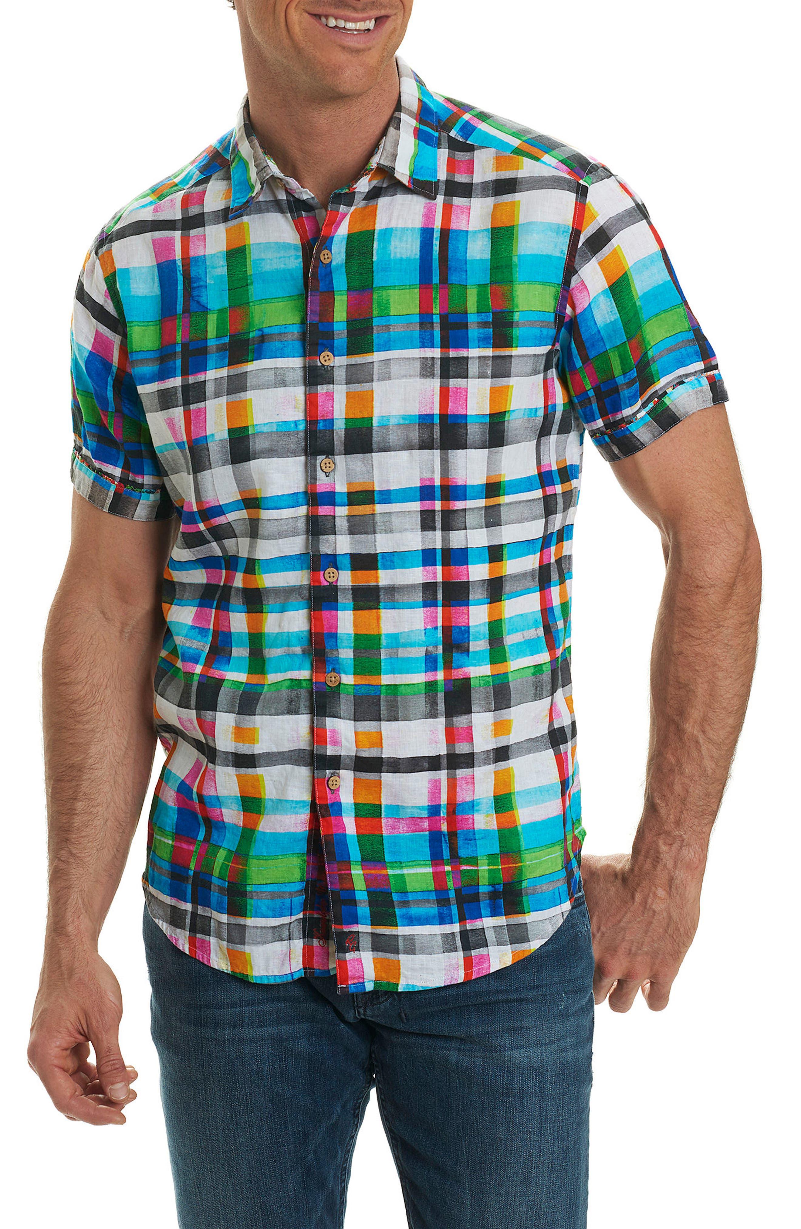 Hula Plaid Classic Fit Linen Sport Shirt,                         Main,                         color, Turquoise