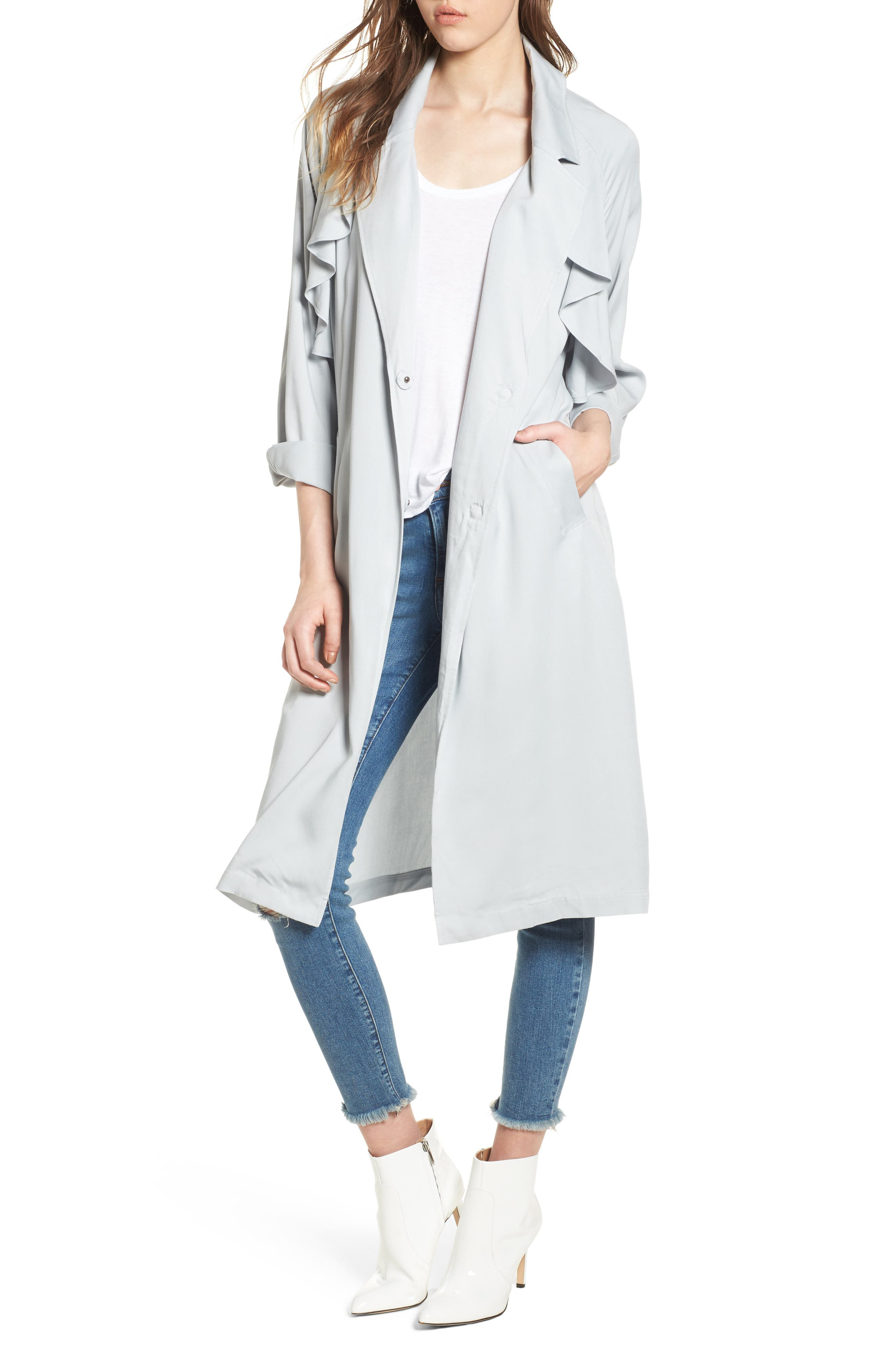 Ruffle Trim Trench Coat,                         Main,                         color, Blue Pearl
