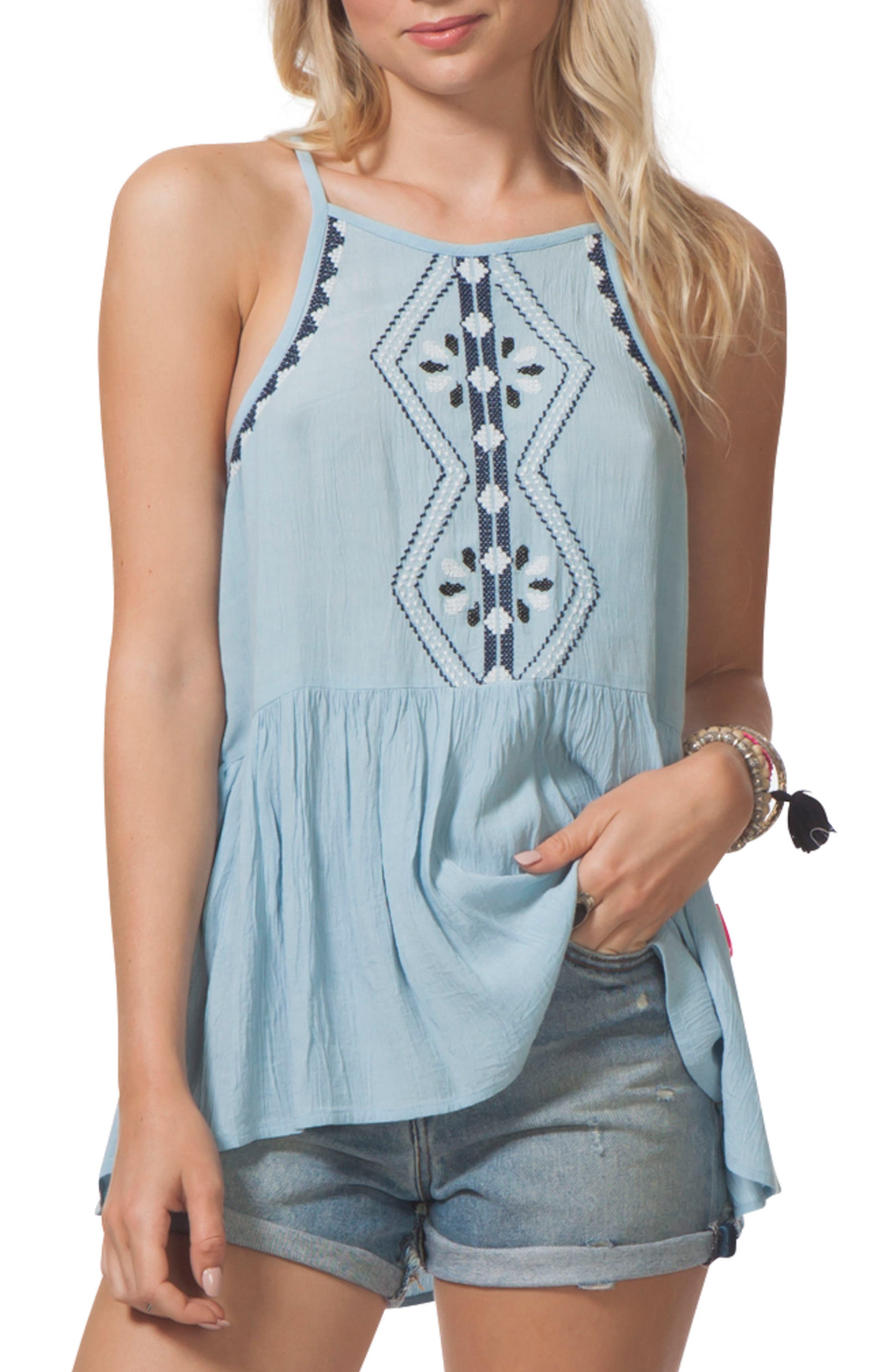Serena Embroidered Tank,                         Main,                         color, Light Blue