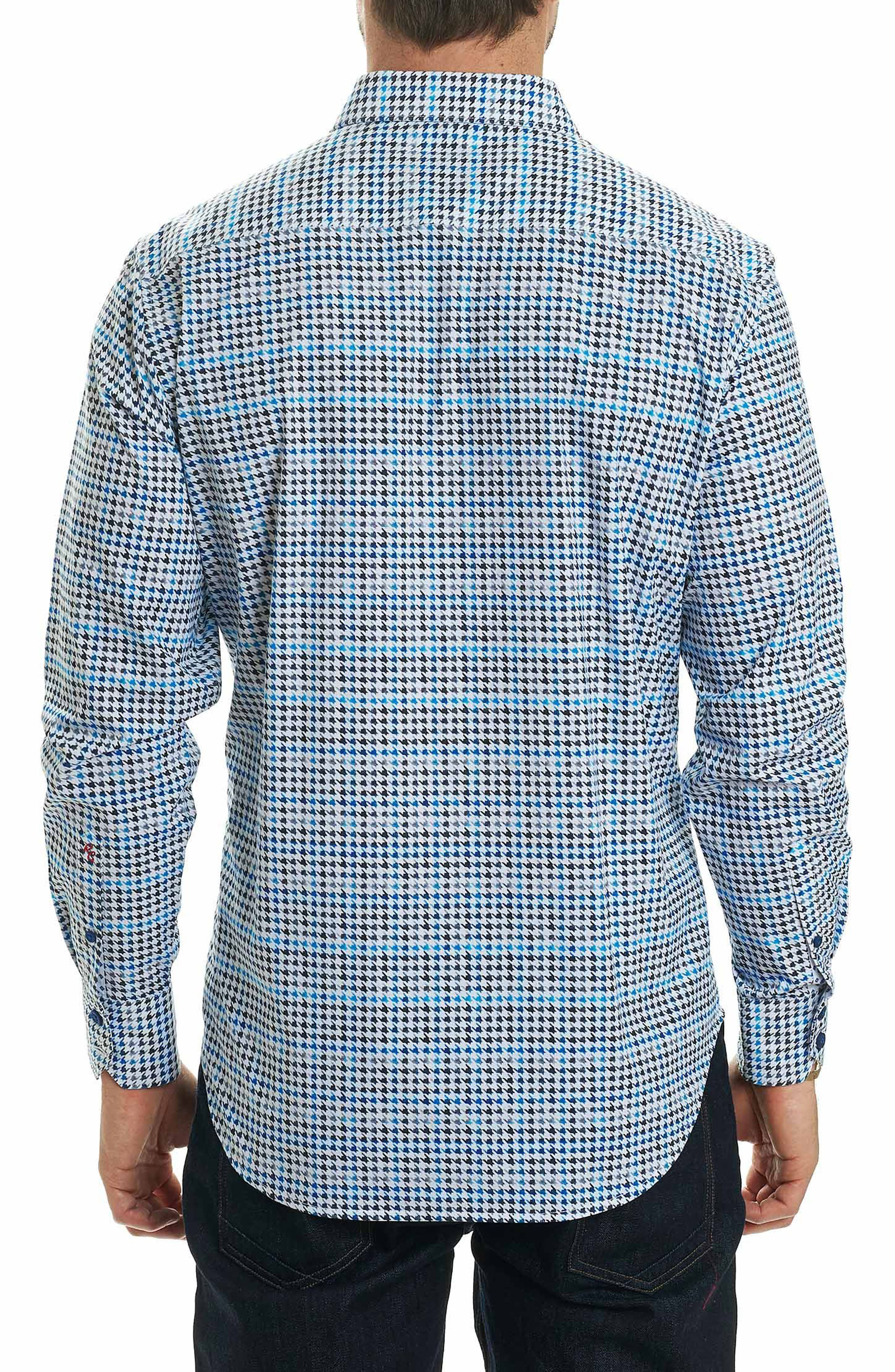 Rolf Classic Fit Houndstooth Print Sport Shirt,                             Alternate thumbnail 2, color,                             White
