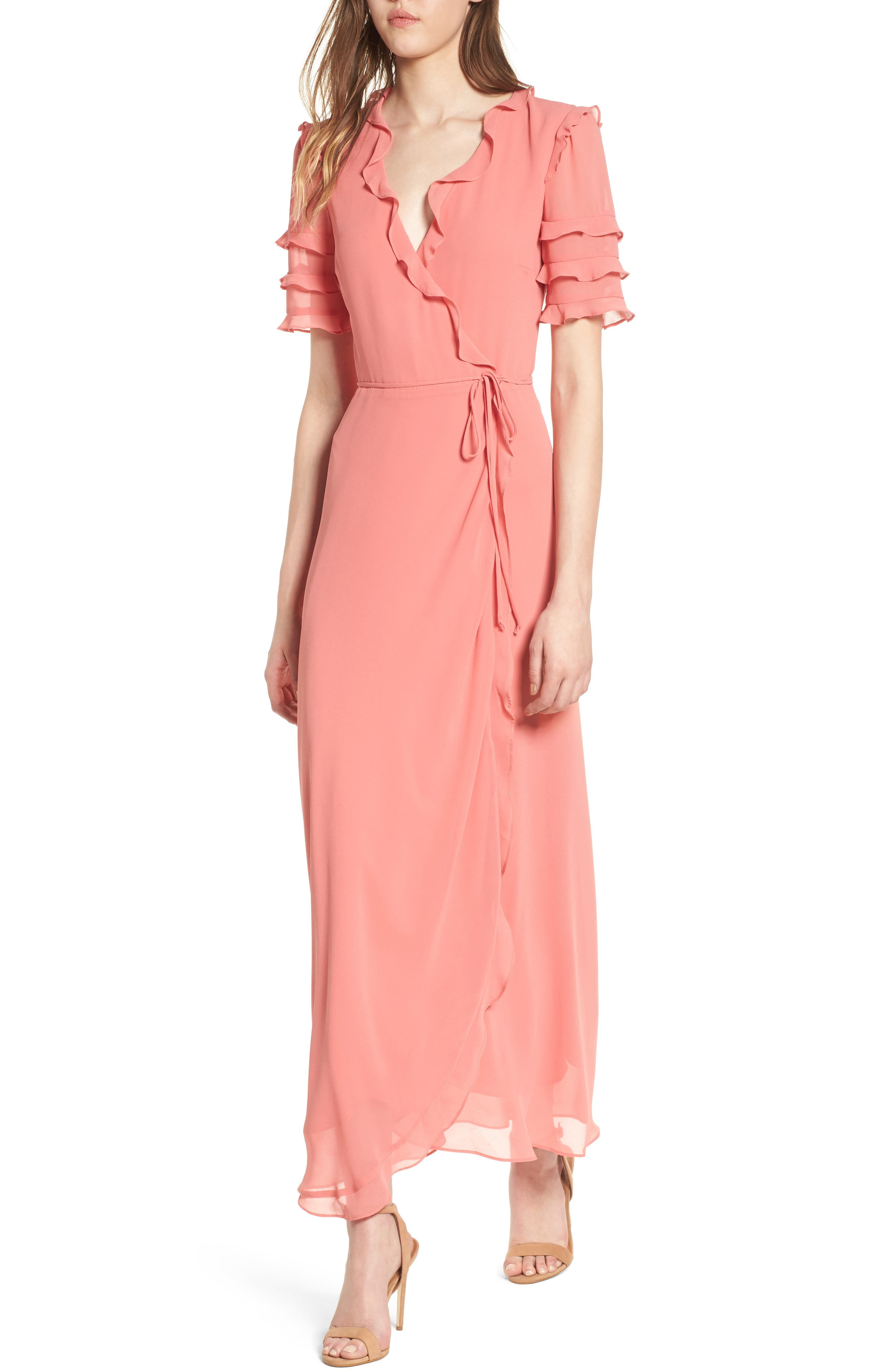 Ruffle Wrap Gown,                         Main,                         color, Coral Rose Tea