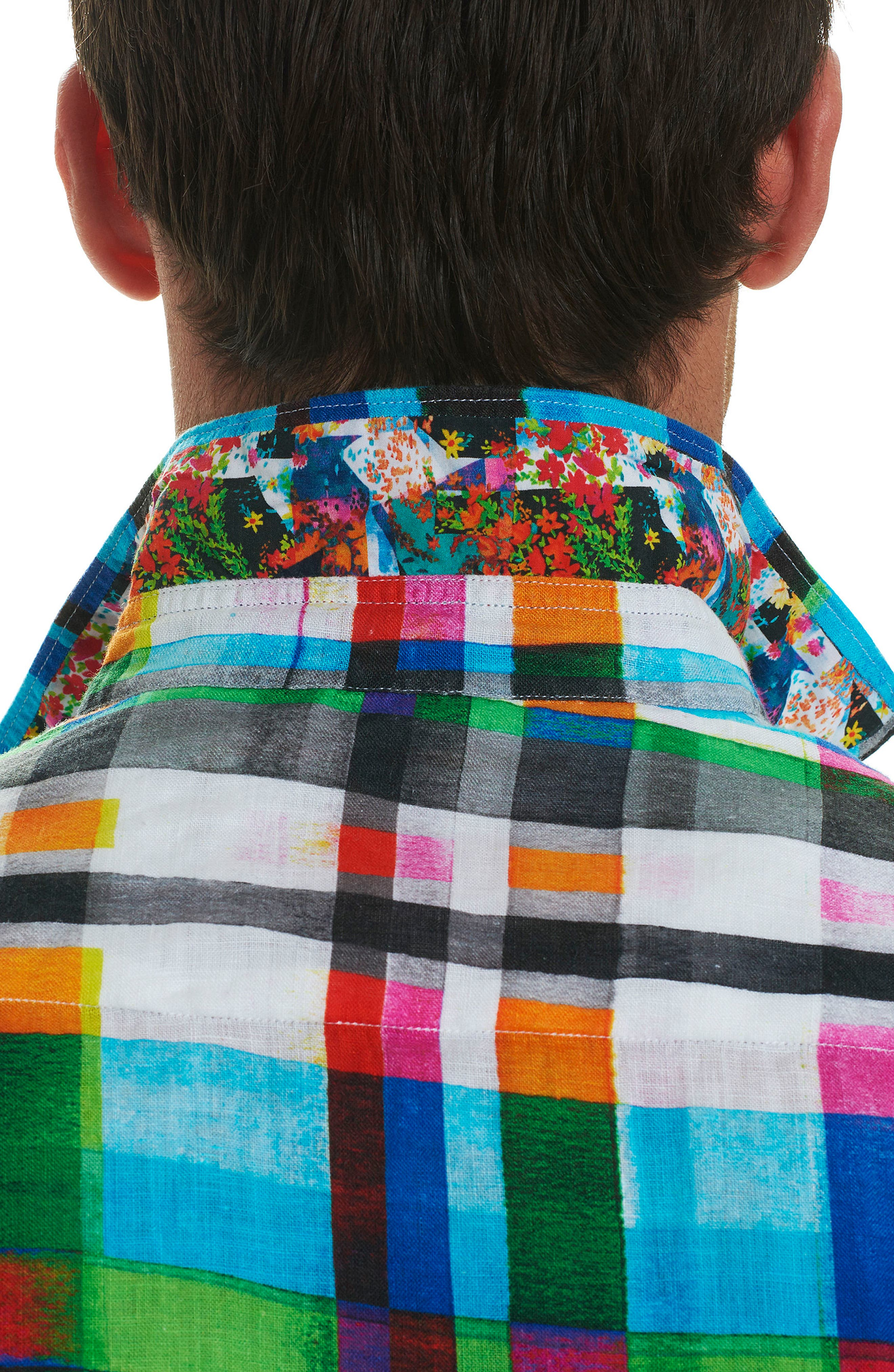 Hula Plaid Classic Fit Linen Sport Shirt,                             Alternate thumbnail 3, color,                             Turquoise