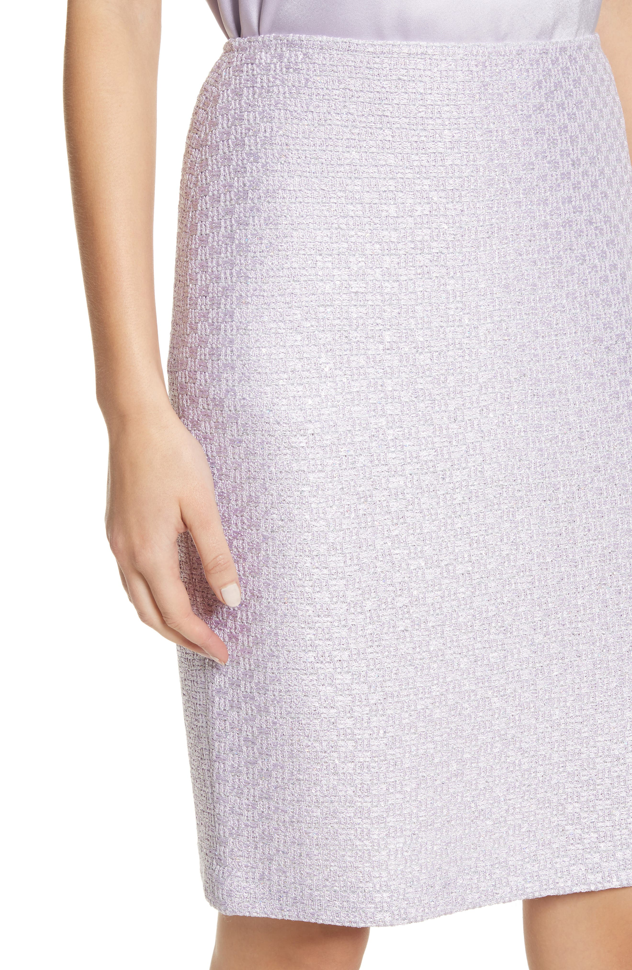 Hansh Sequin Knit Pencil Skirt,                             Alternate thumbnail 4, color,                             Lilac Multi