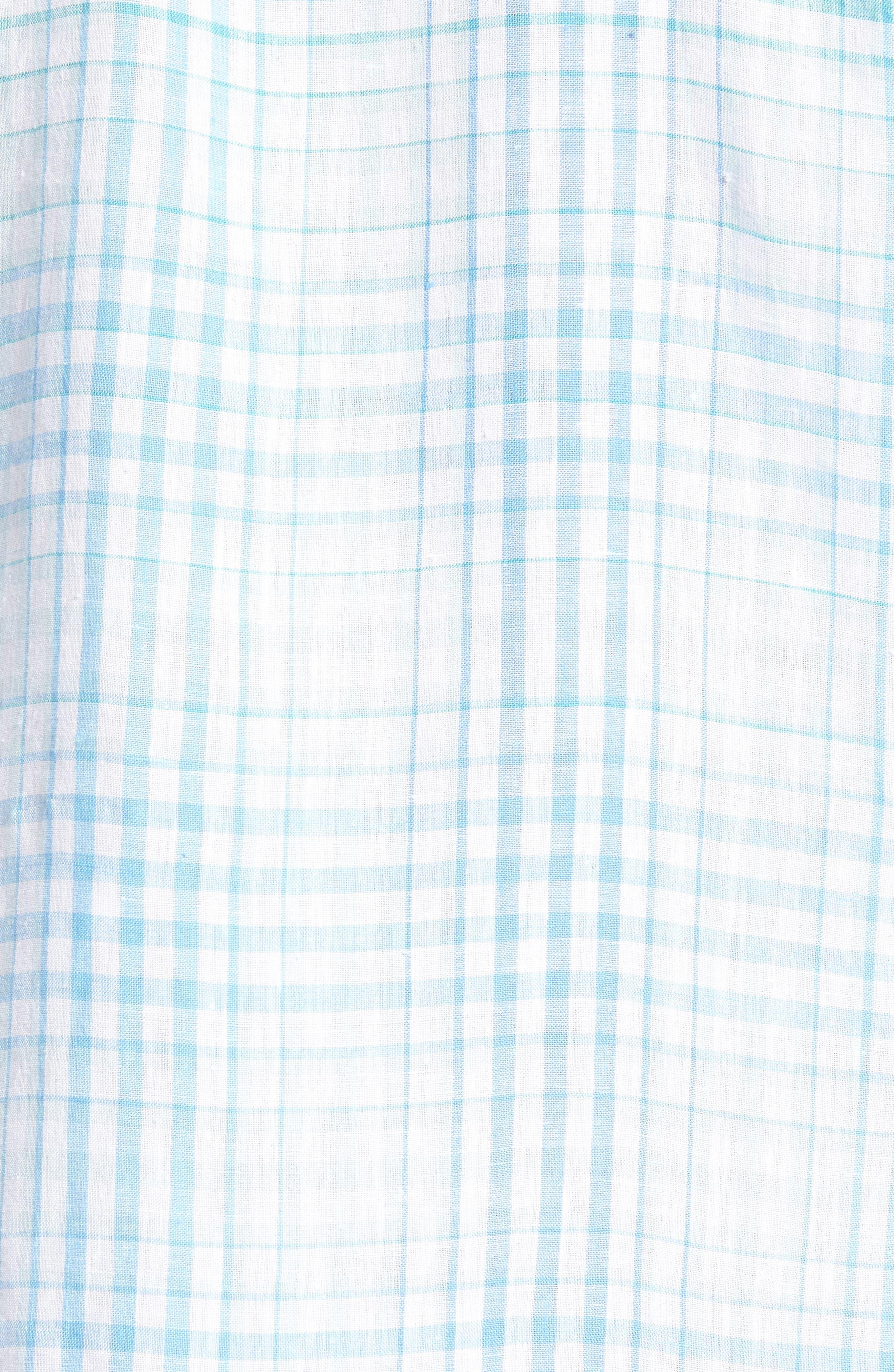 Malahina Plaid Linen Sport Shirt,                             Alternate thumbnail 5, color,                             Blue Canal