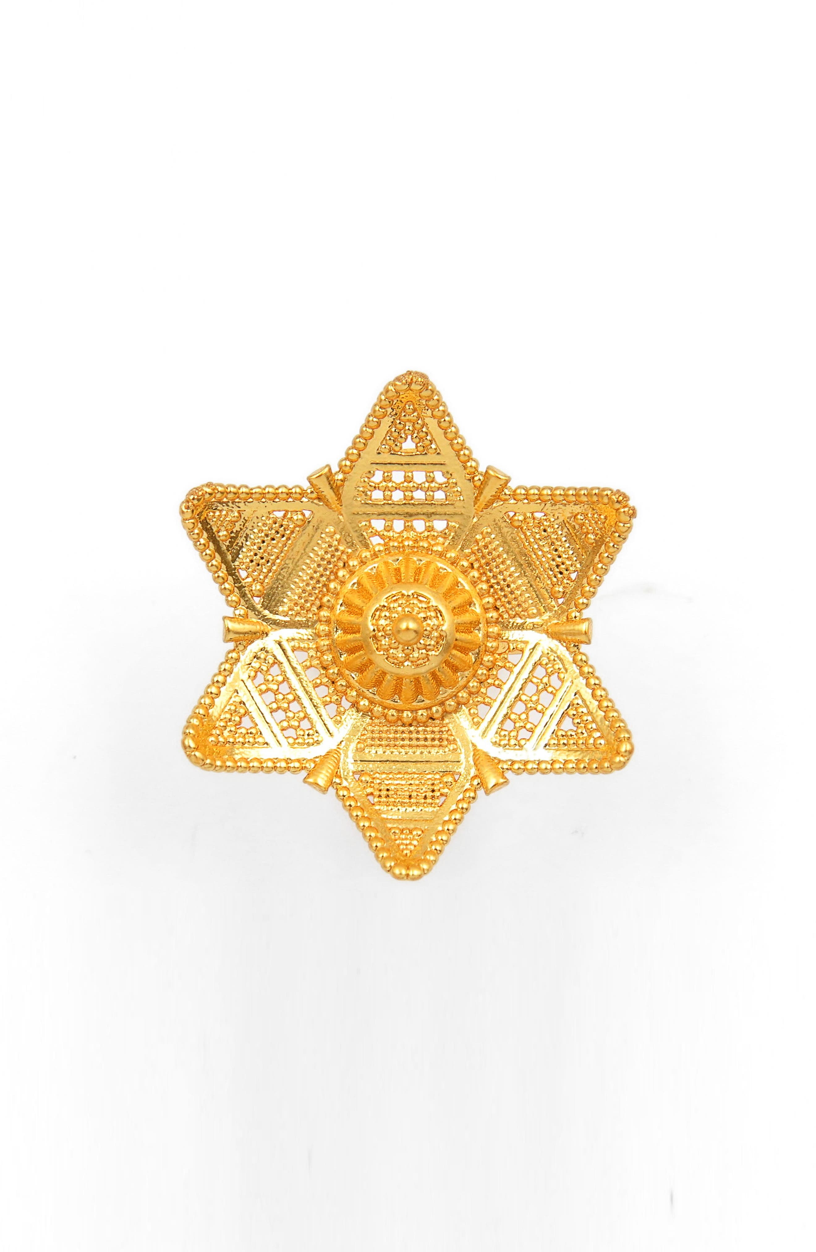 Six-Point Filigree Star Ring,                         Main,                         color, Gold