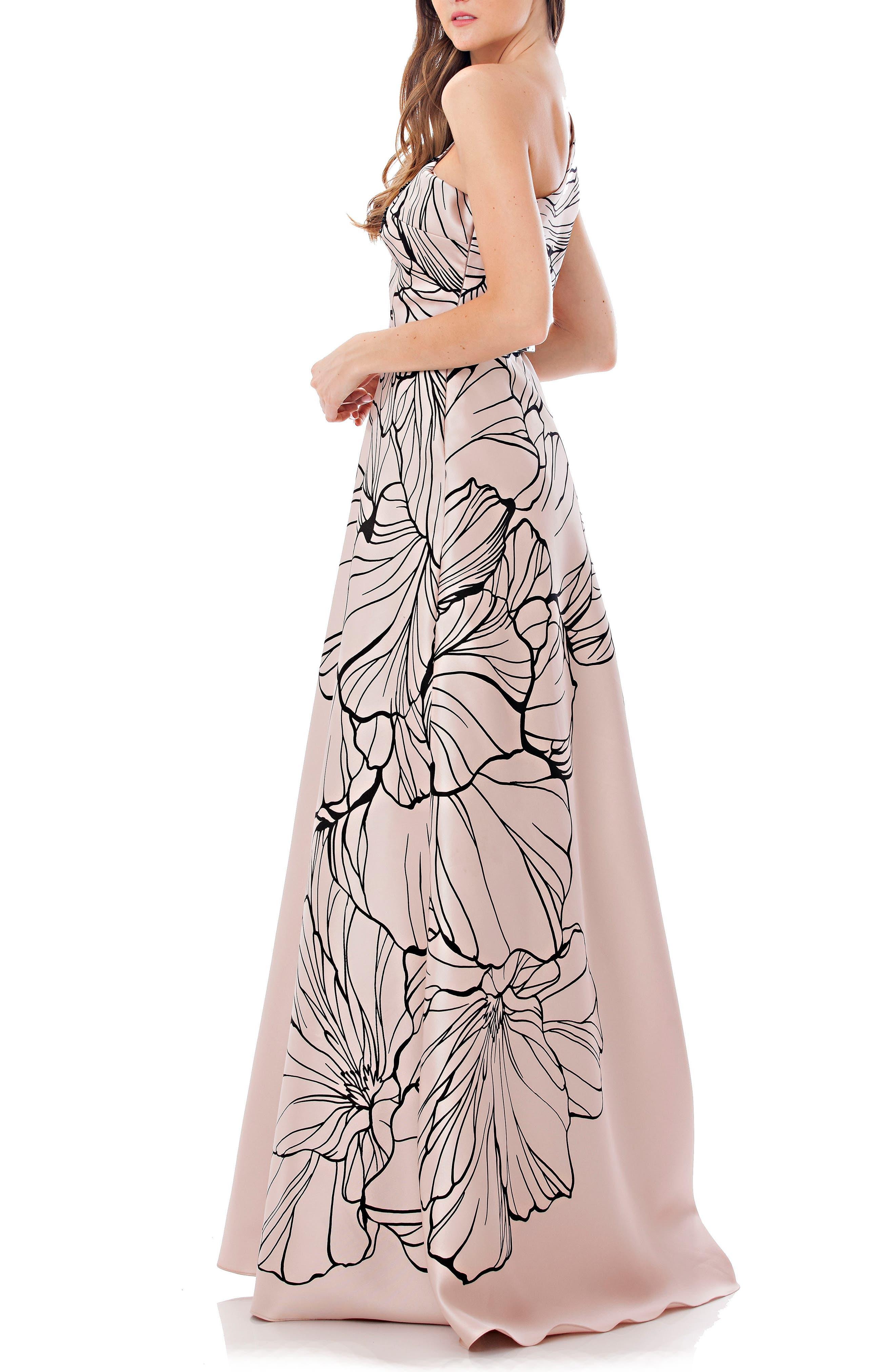 Alternate Image 3  - Carmen Marc Valvo Infusion Print One-Shoulder Mikado Gown