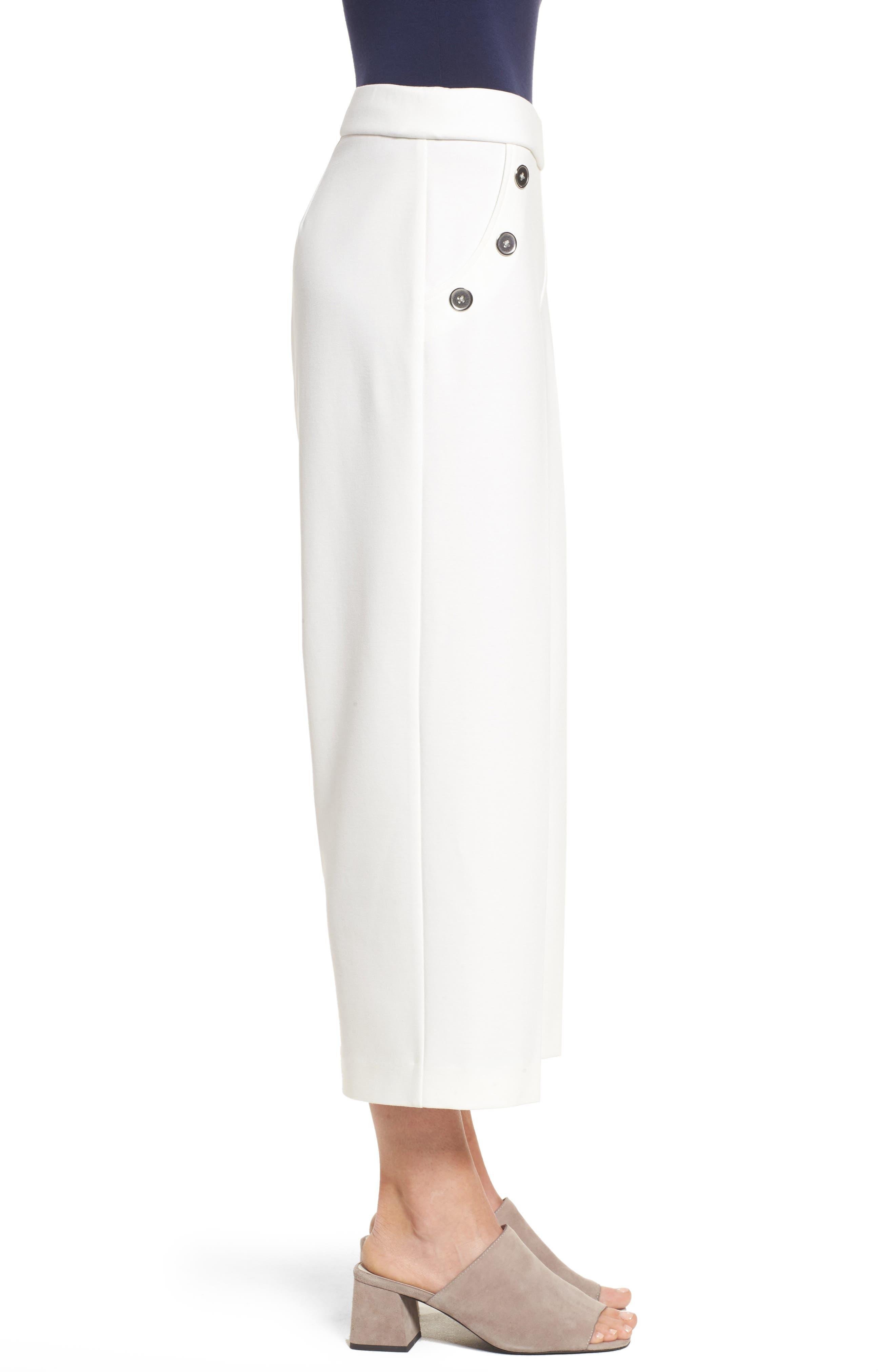 Crop Ponte Knit Sailor Pants,                             Alternate thumbnail 3, color,                             New Ivory