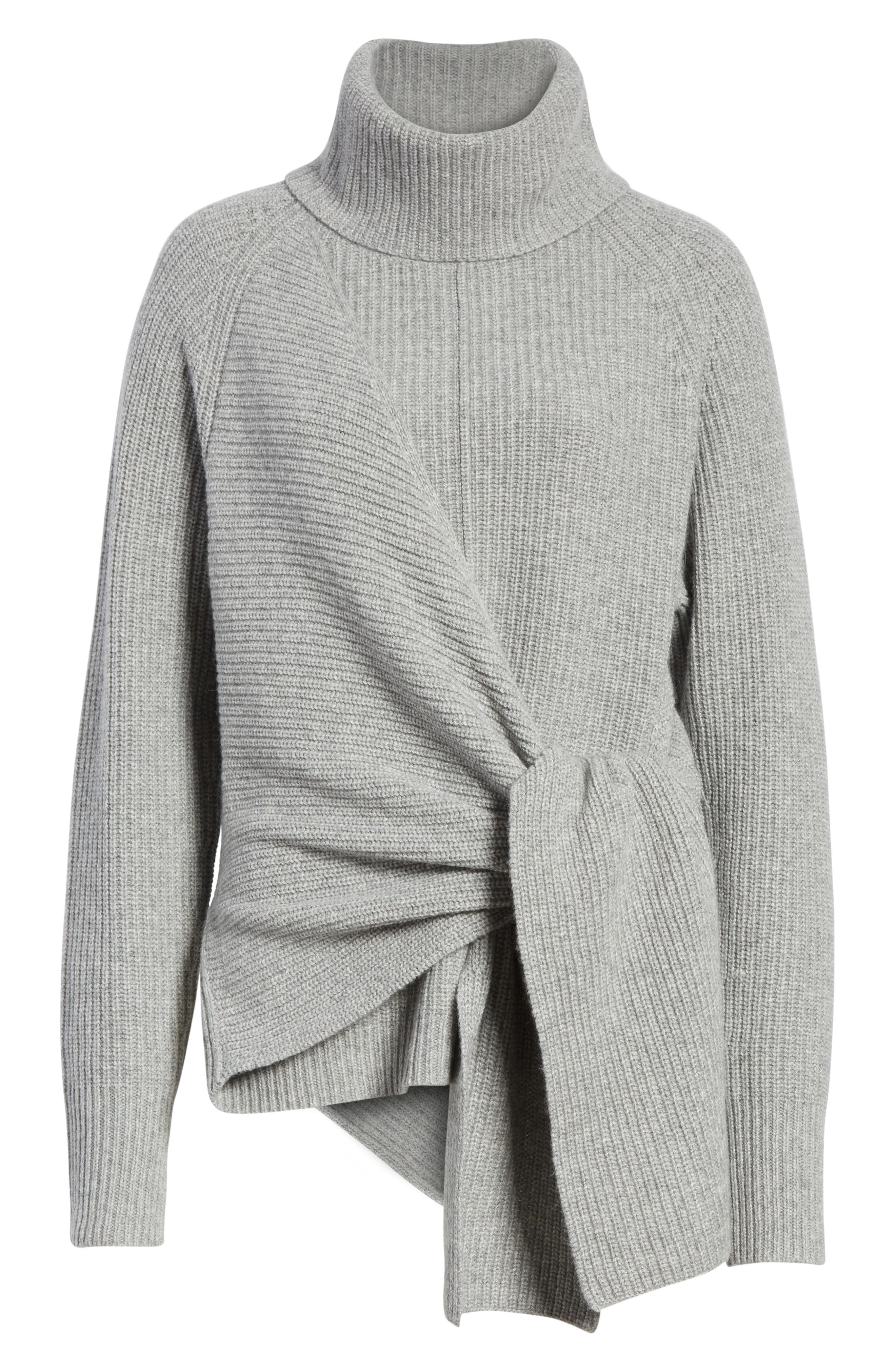 Bree Wrap Waist Sweater,                             Alternate thumbnail 6, color,                             Dovetail Melange