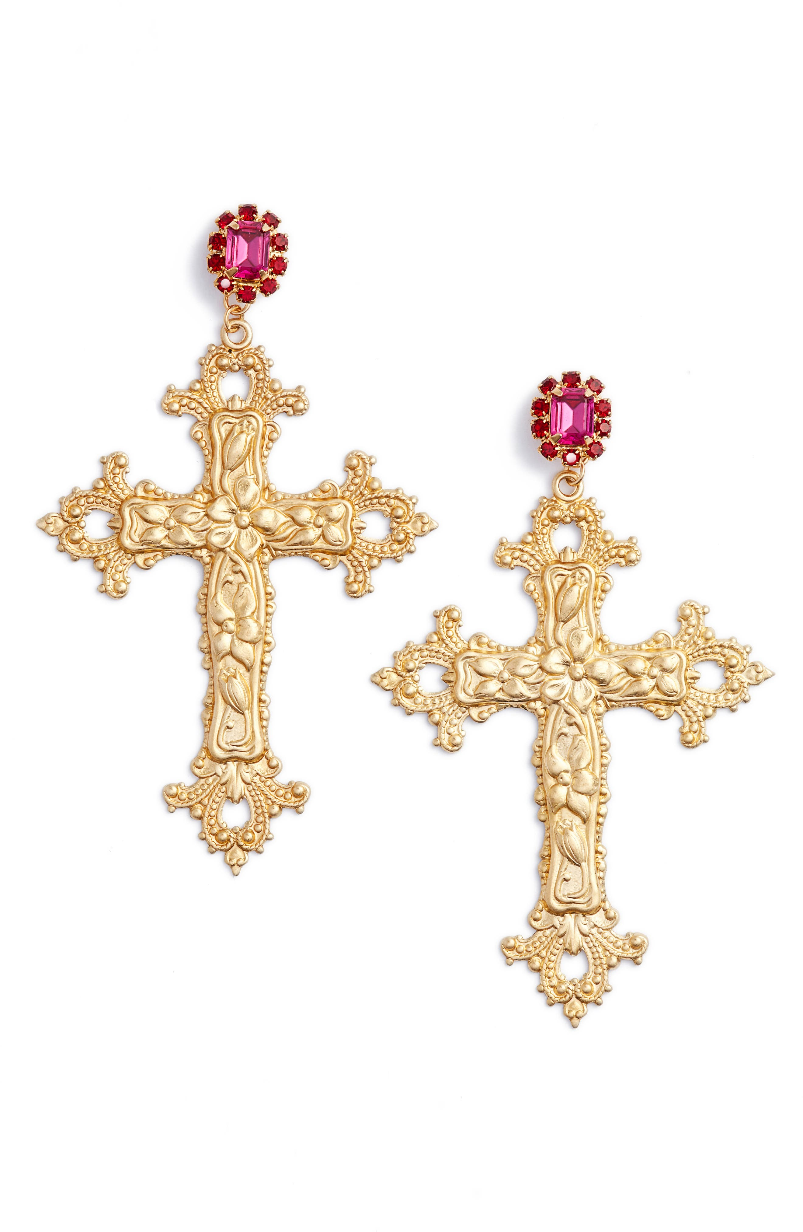 Vatican City Drop Earrings,                             Main thumbnail 1, color,                             Gold/ Pink