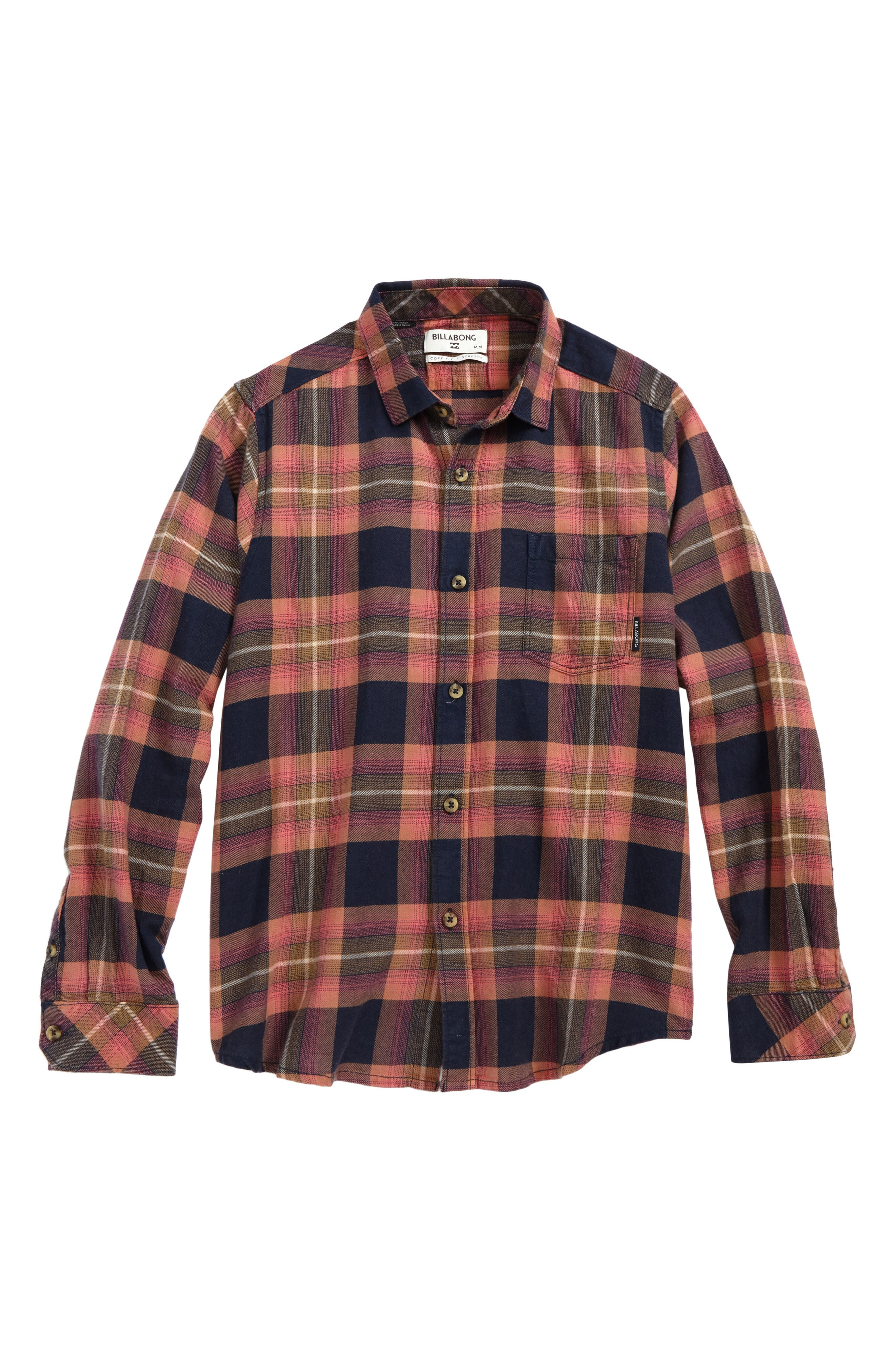 Freemont Plaid Flannel Shirt,                             Main thumbnail 1, color,                             Navy
