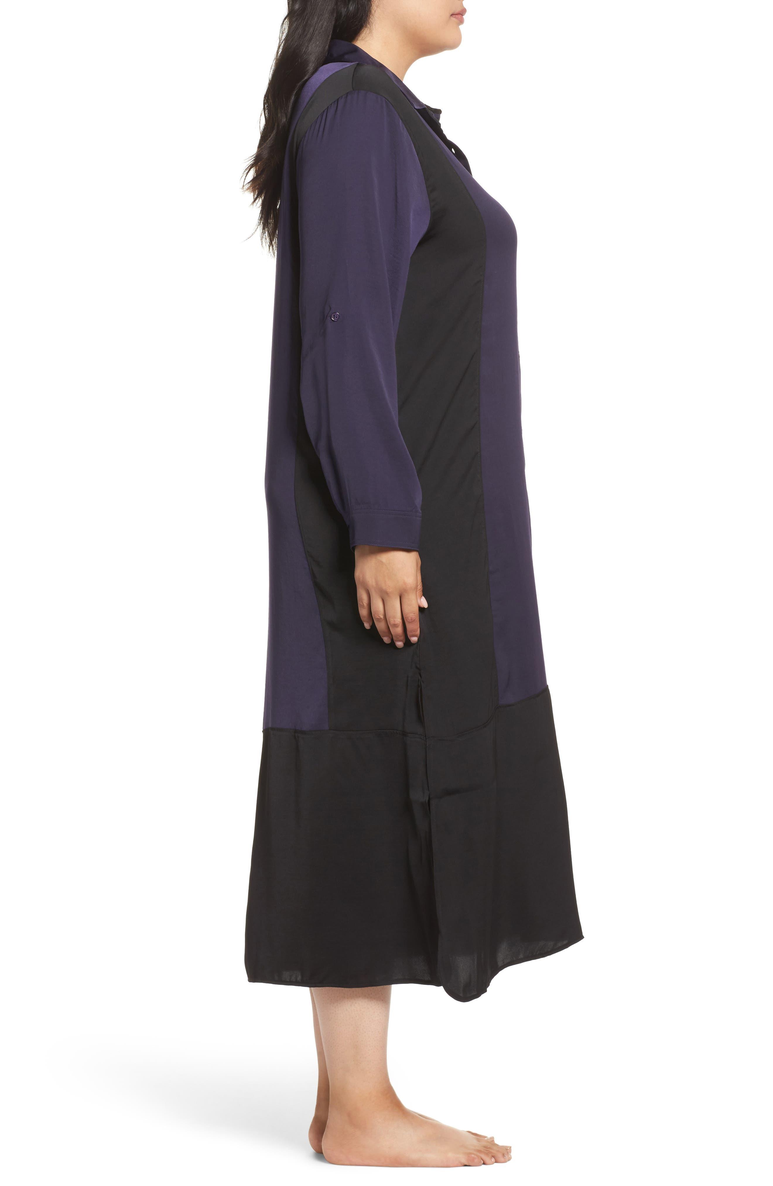 Alternate Image 3  - DKNY Satin Maxi Sleep Shirt (Plus Size)