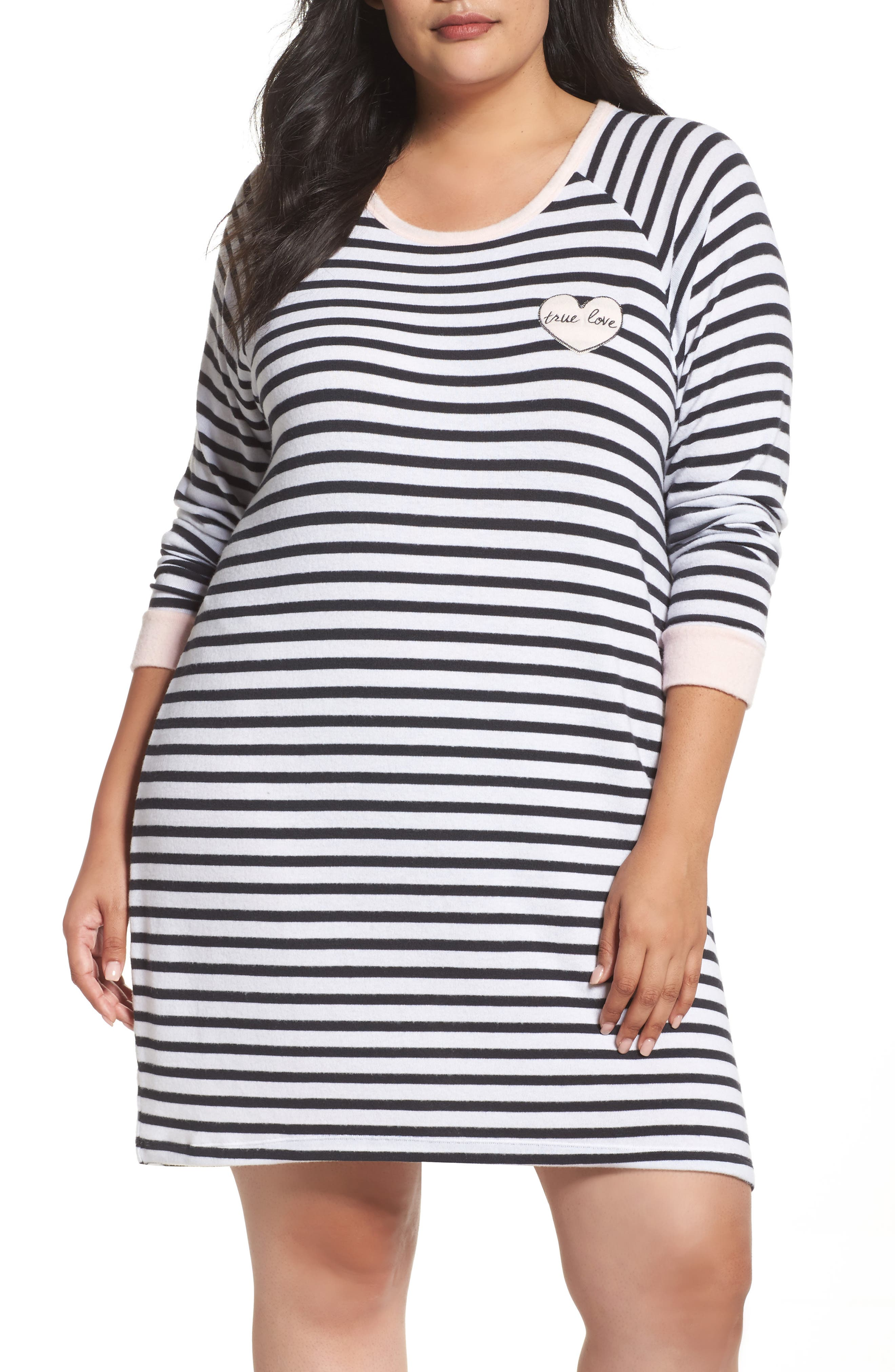Stripe Peachy Jersey Nightshirt,                         Main,                         color, Ivory