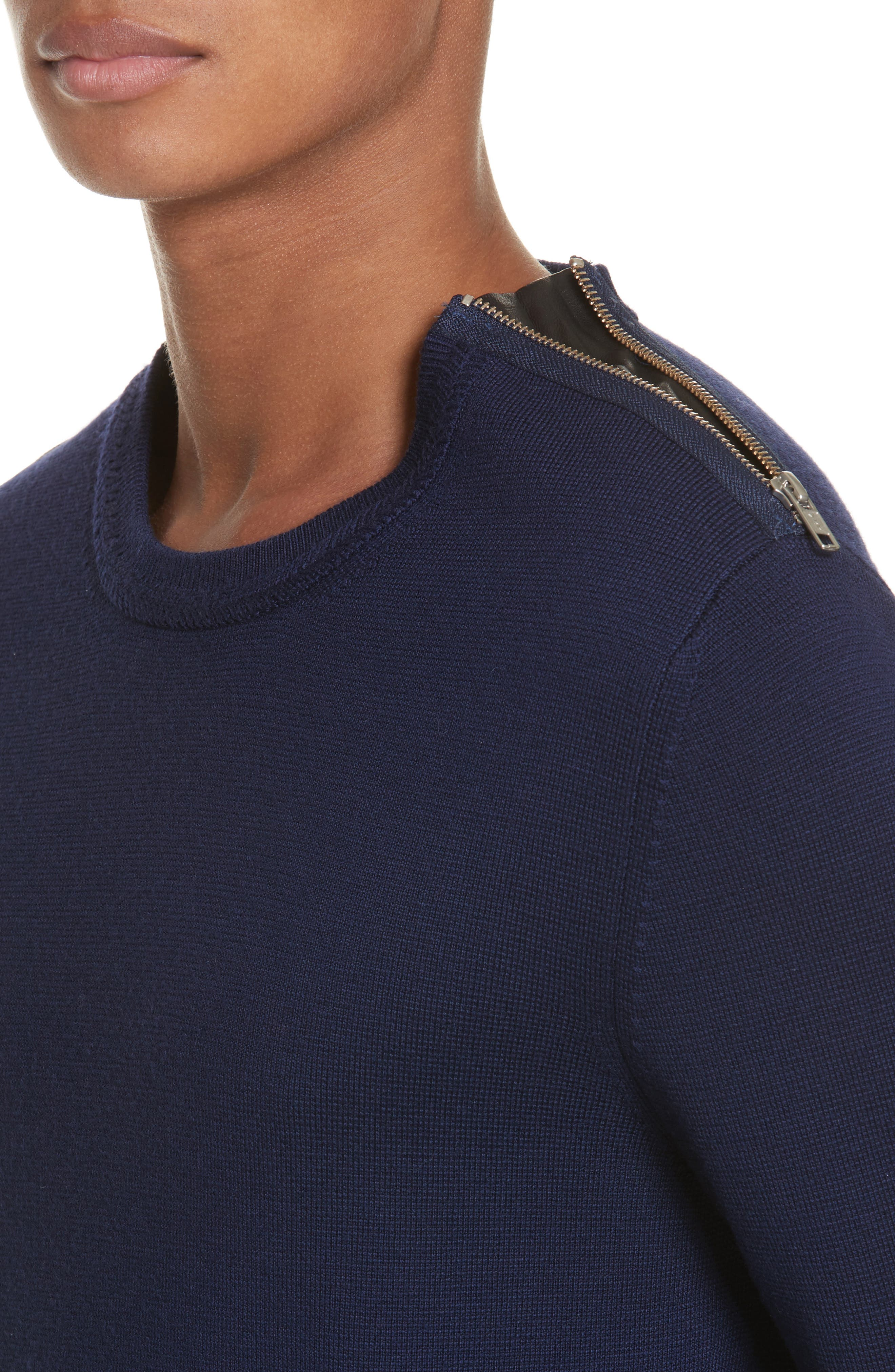 Merino Wool Blend Sweater with Shoulder Zip Trim,                             Alternate thumbnail 4, color,                             Navy