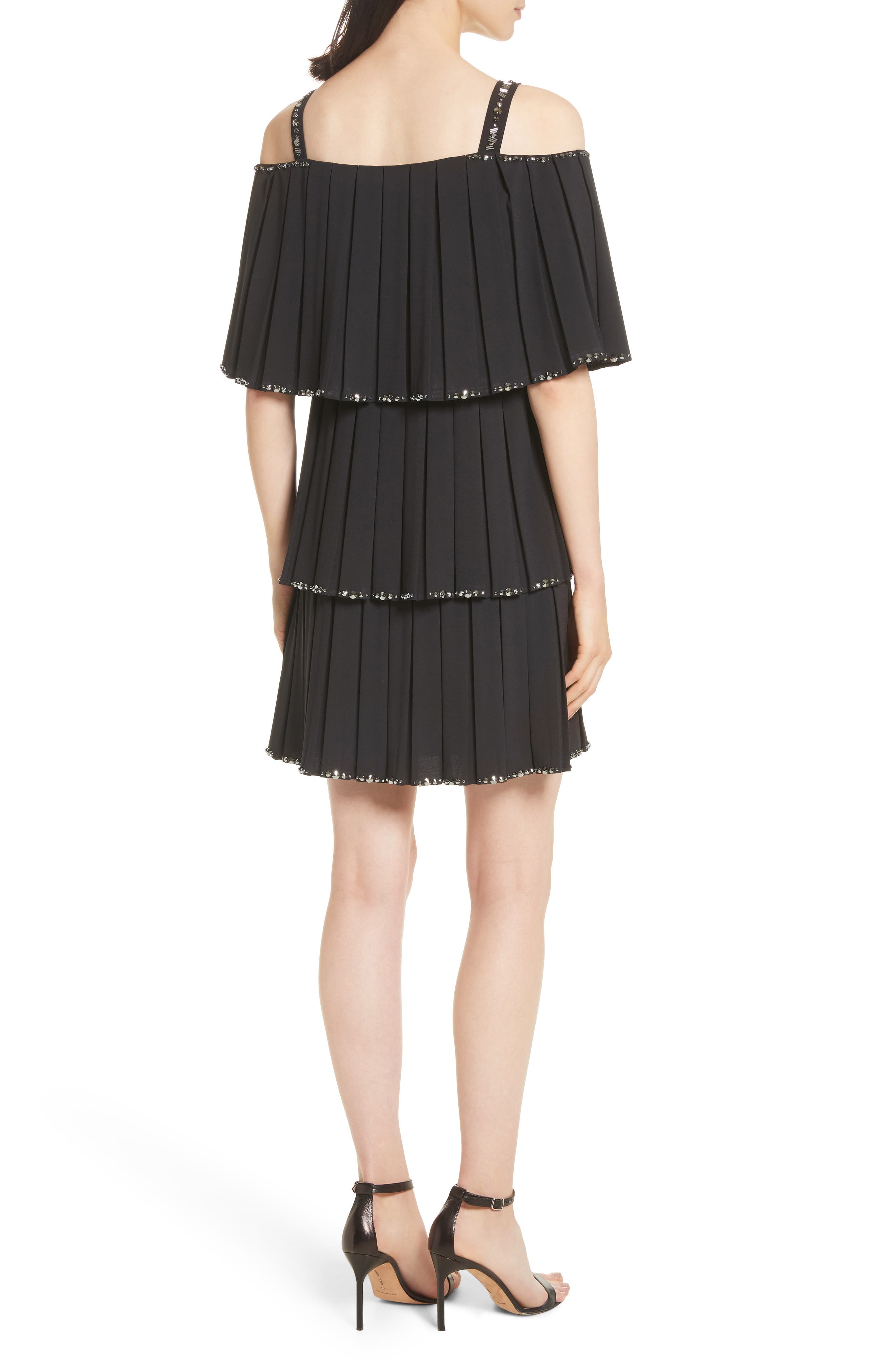 Embellished Pleat Tiered Dress,                             Alternate thumbnail 2, color,                             Black