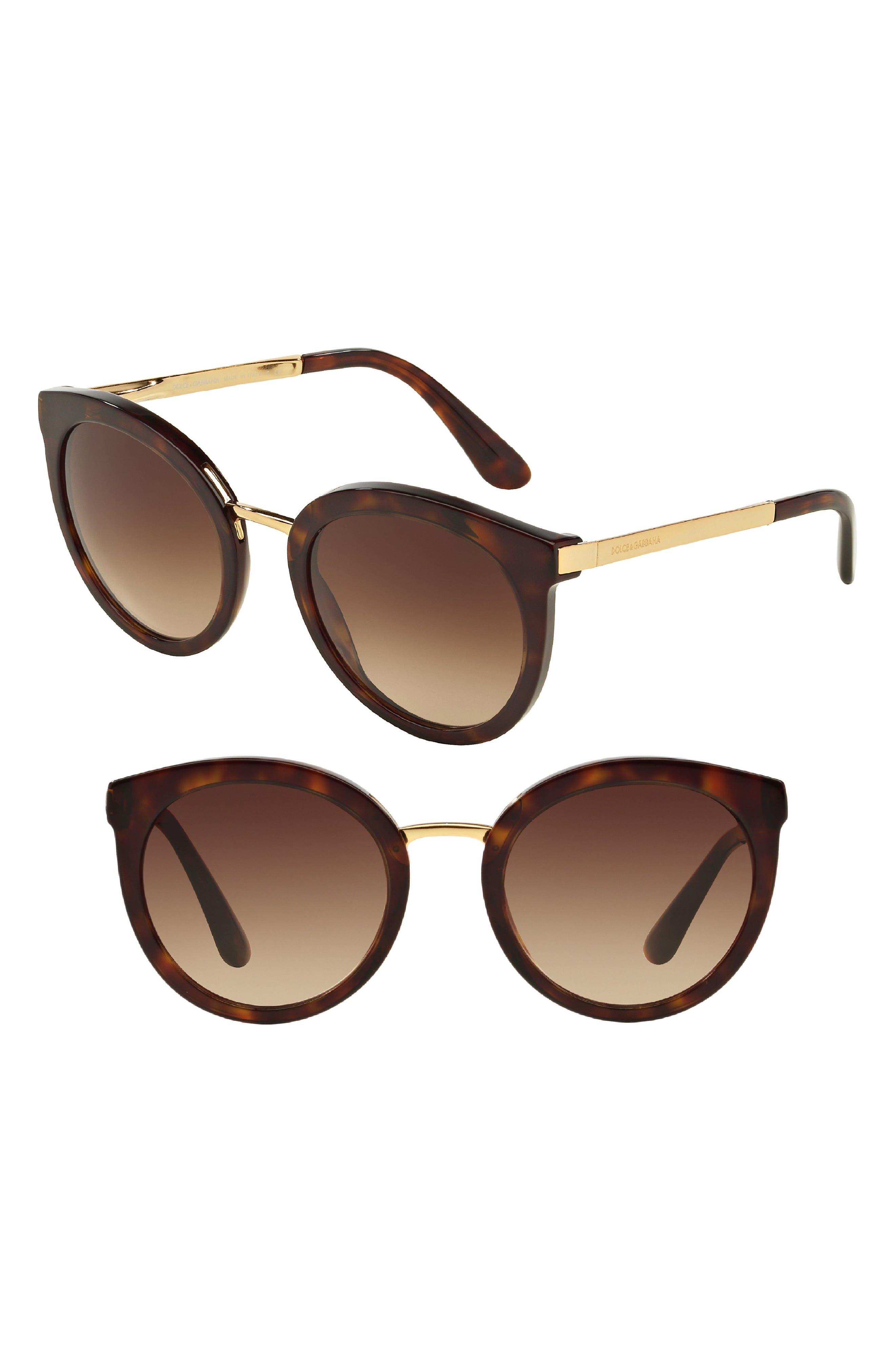 52mm Round Sunglasses,                         Main,                         color, Havana