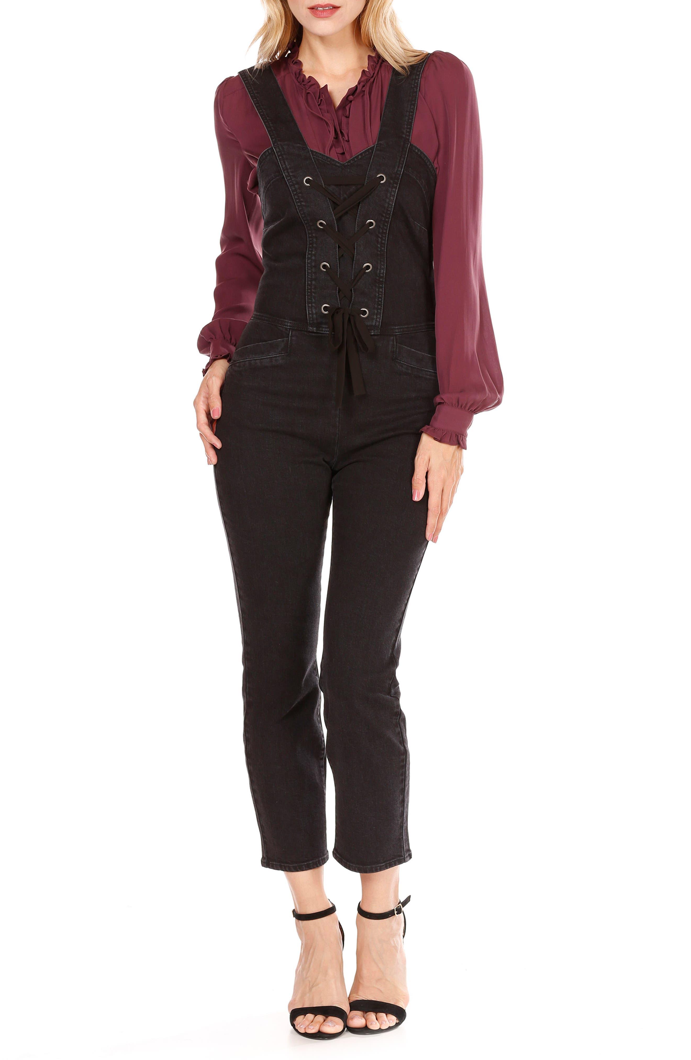 Tula Lace-Up Denim Overalls,                         Main,                         color, Vintage Noir
