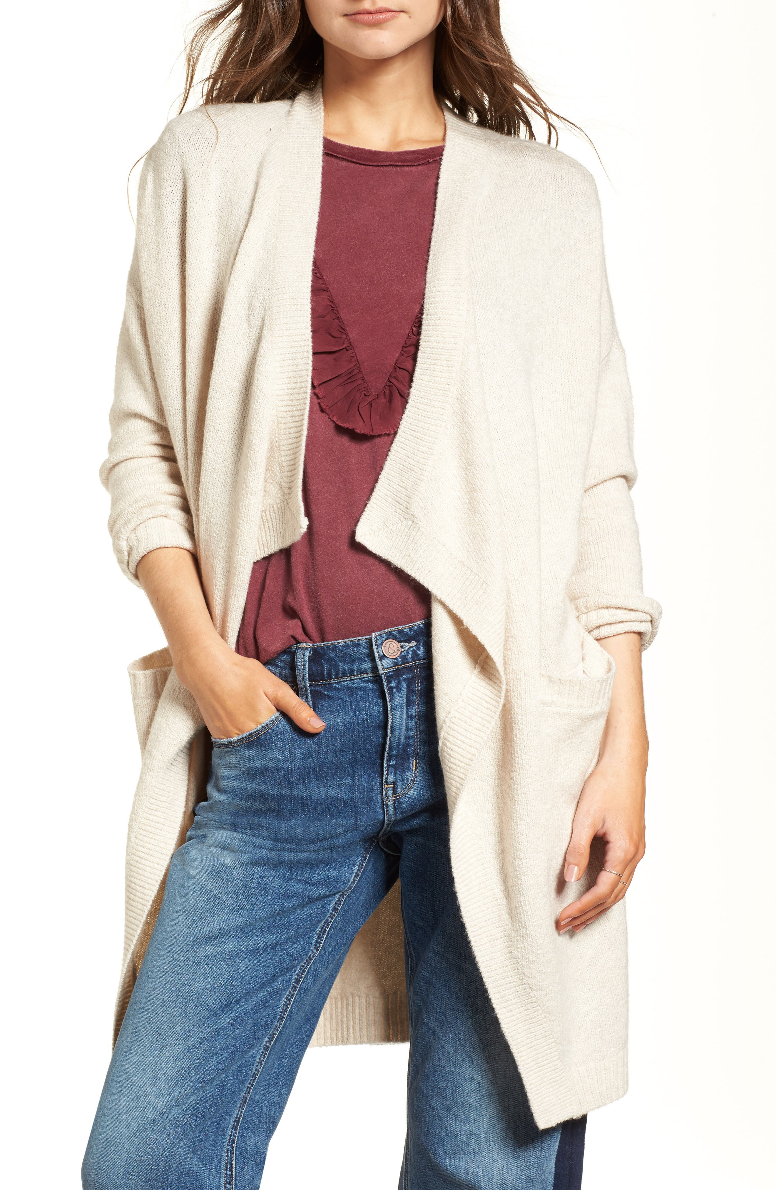 Drape Cardigan,                             Main thumbnail 1, color,                             Beige Oatmeal Heather