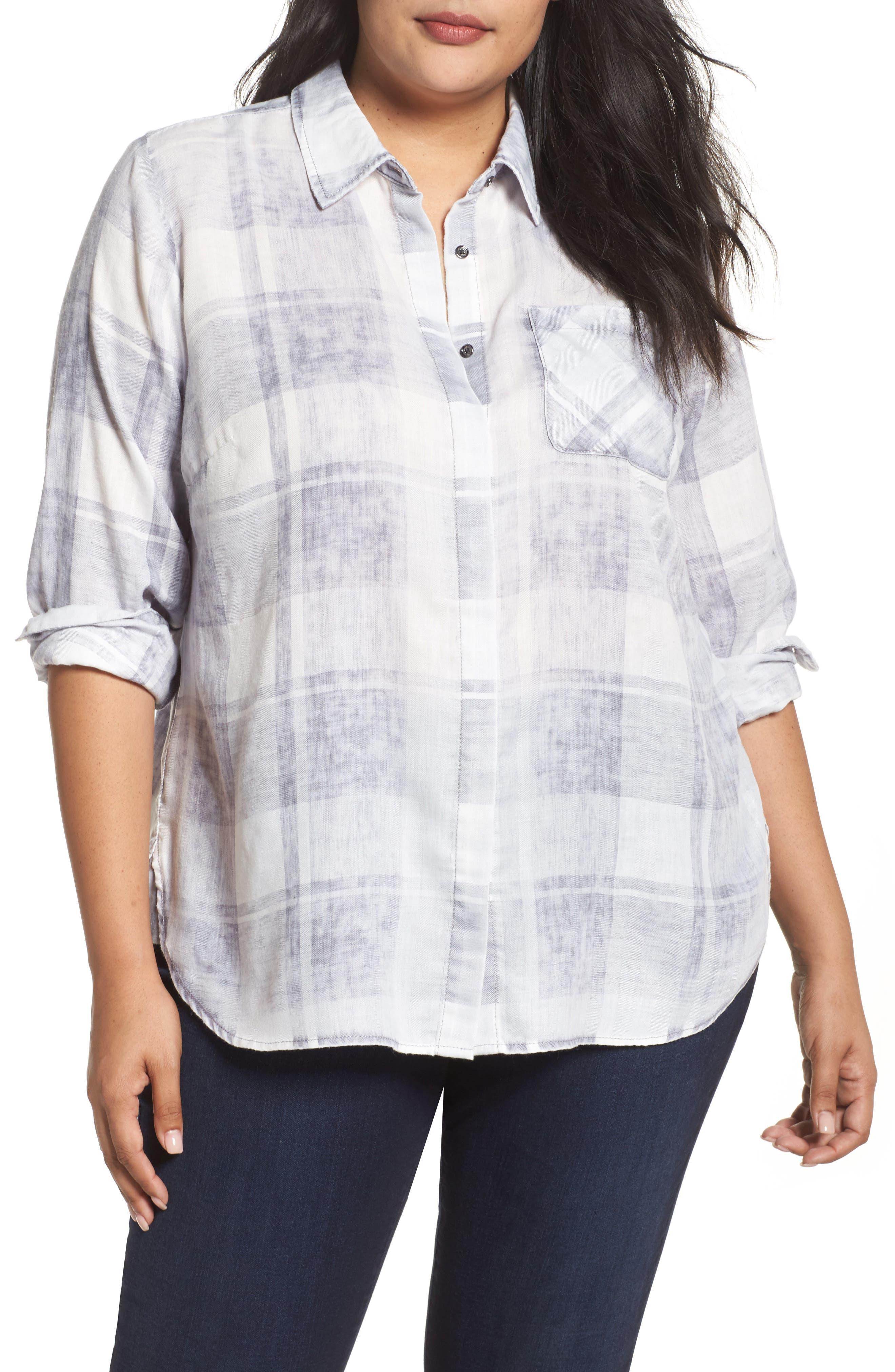 Two by Vince Camuto Quaint Plaid Button Down Shirt (Plus Size)