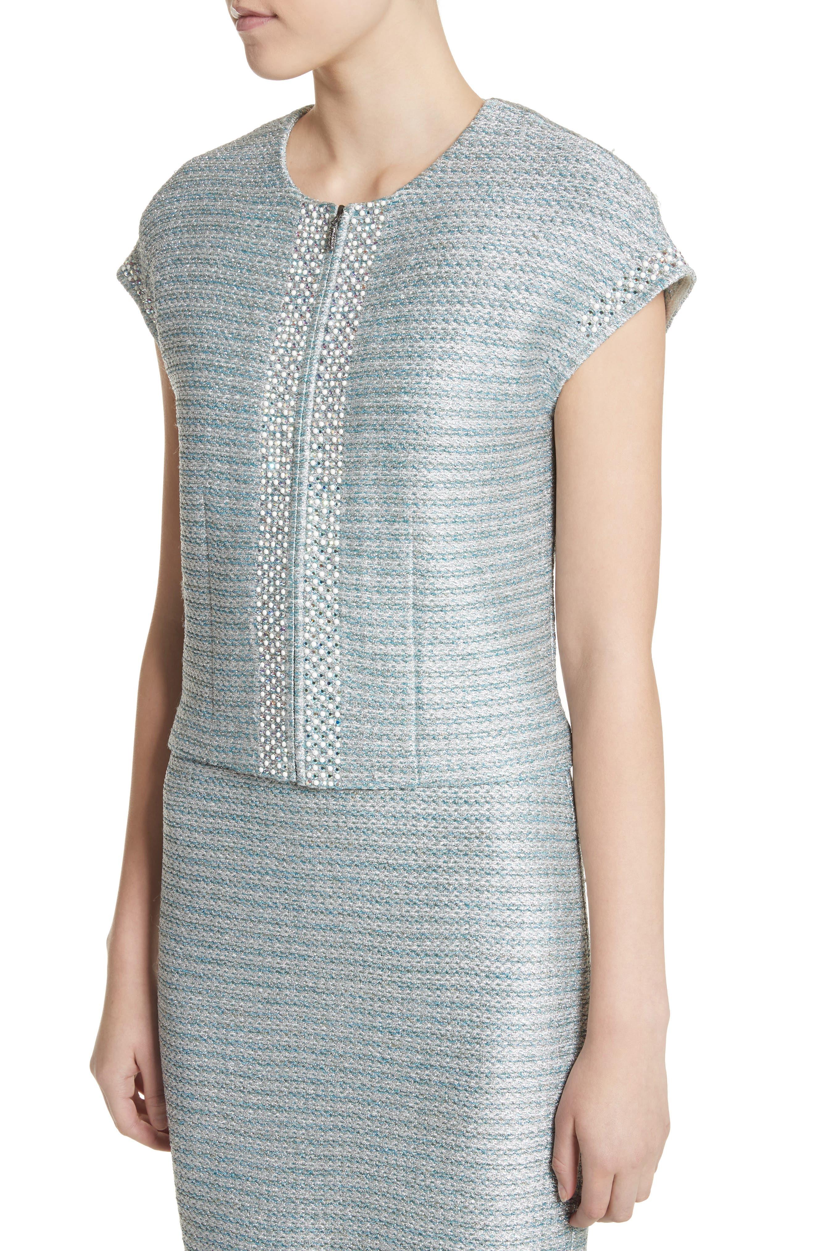 Gleam Metallic Knit Bolero,                             Alternate thumbnail 4, color,                             Mint Multi