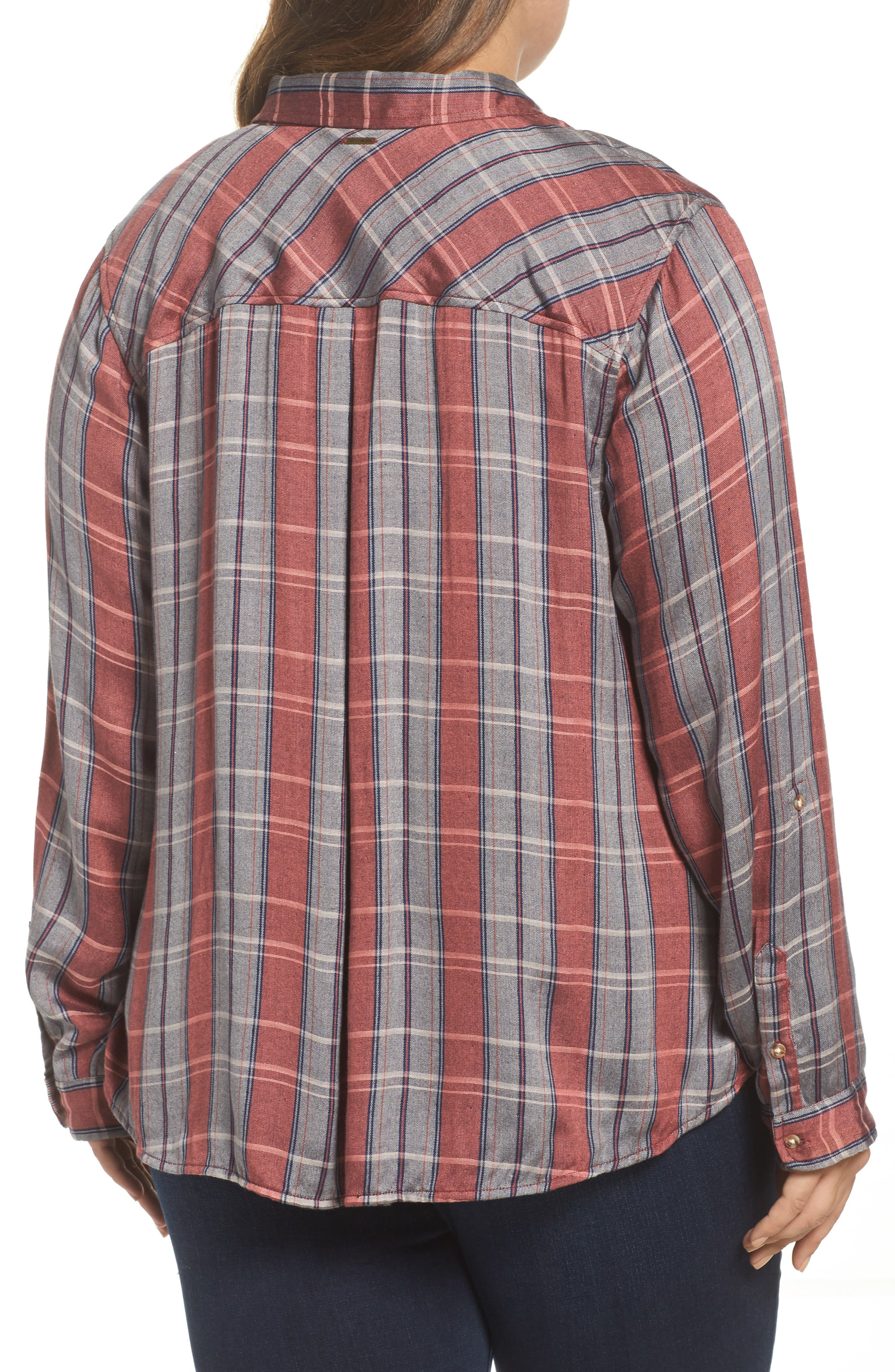 Alternate Image 2  - Lucky Brand Plaid Pocket Shirt (Plus Size)