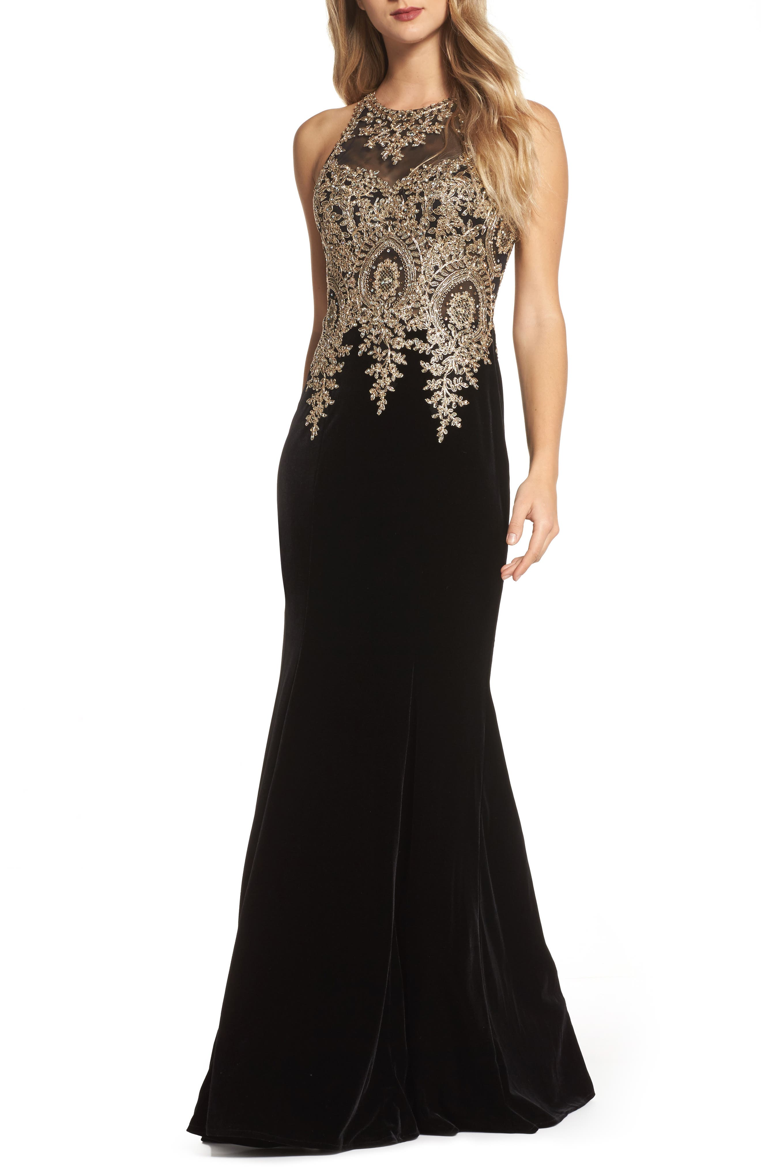 Xscape Gold Embroidered Velvet Gown