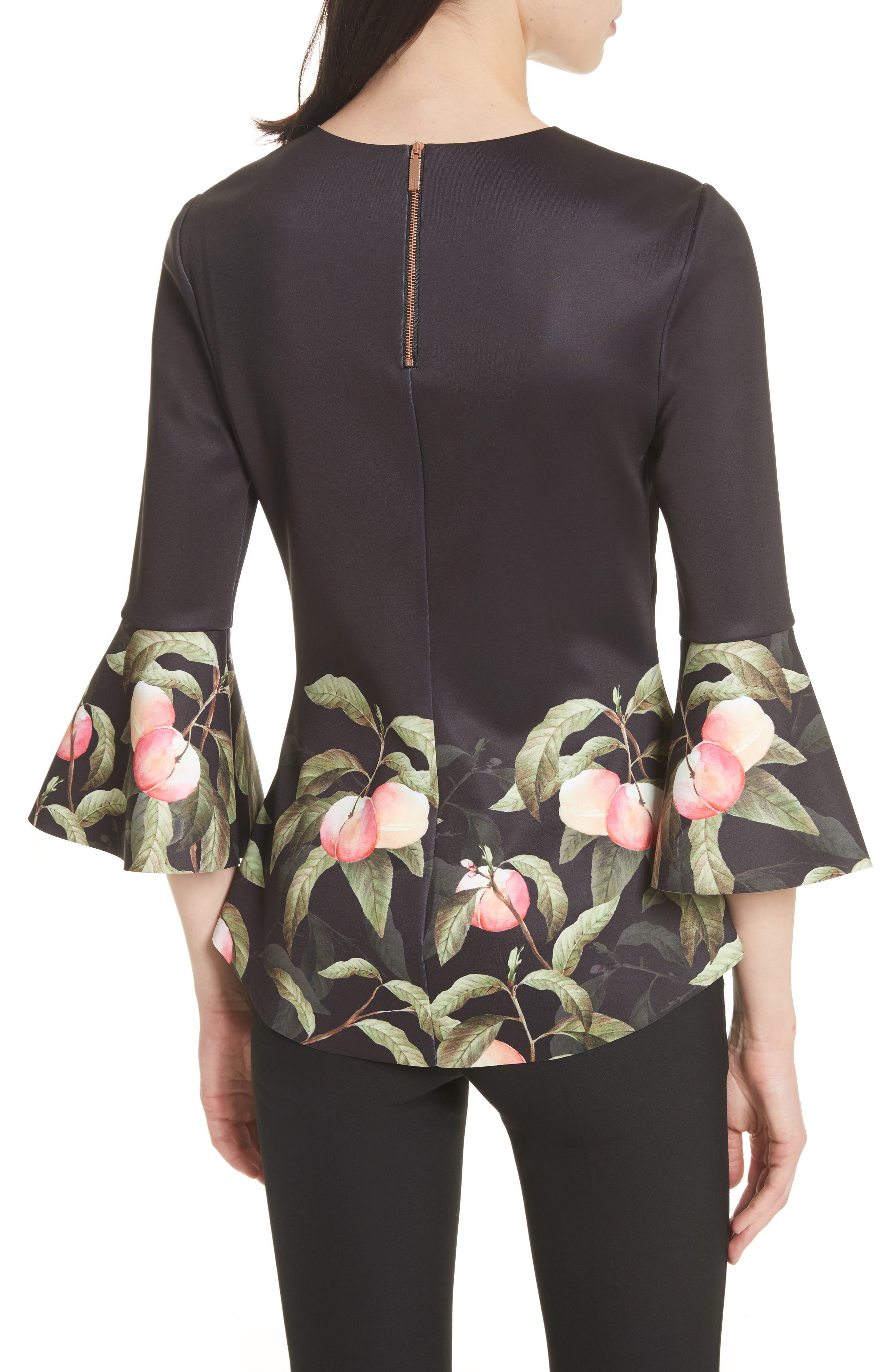 Peach Blossom Bell Sleeve Top,                             Alternate thumbnail 2, color,                             Black