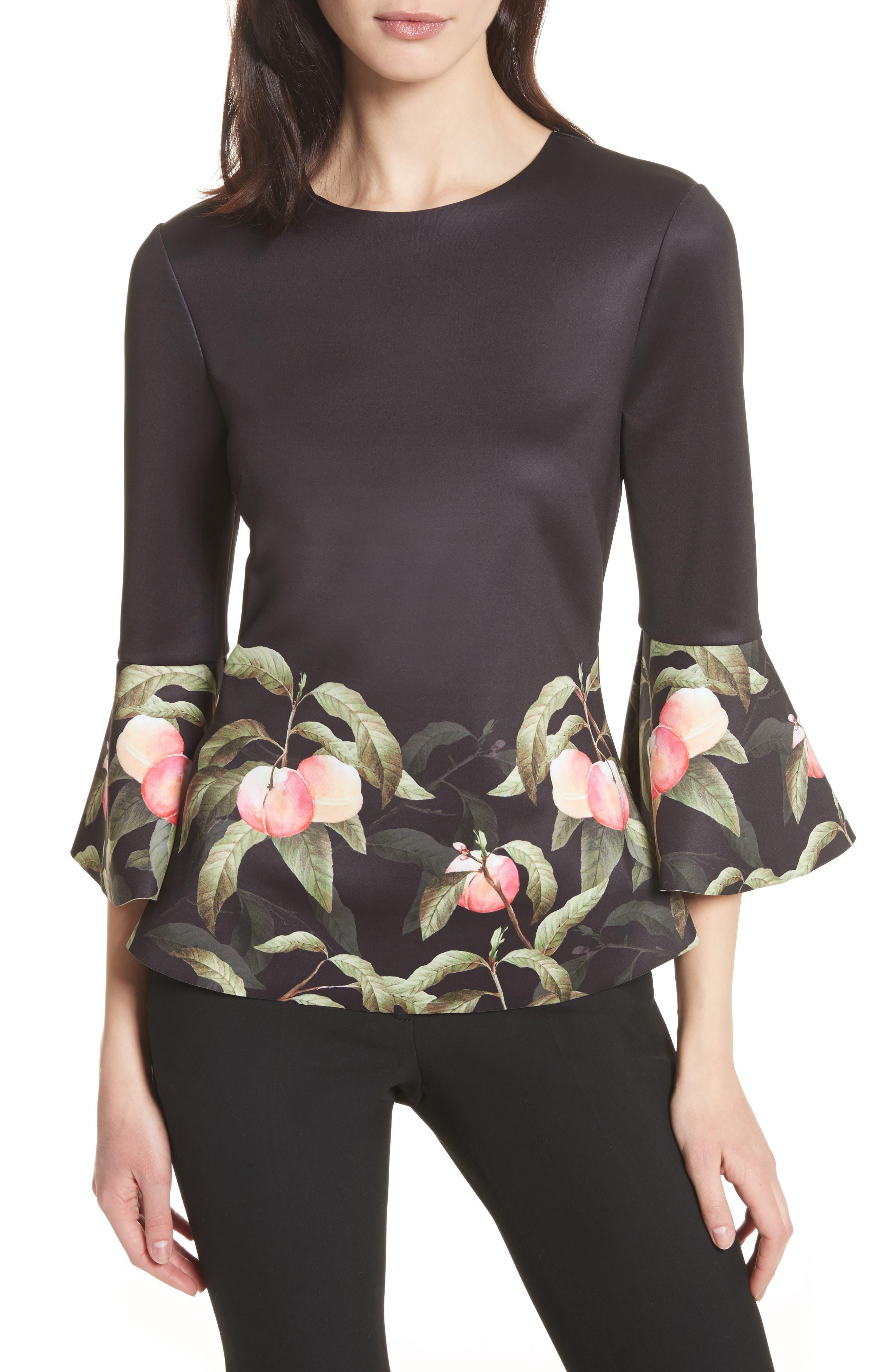 Peach Blossom Bell Sleeve Top,                             Main thumbnail 1, color,                             Black