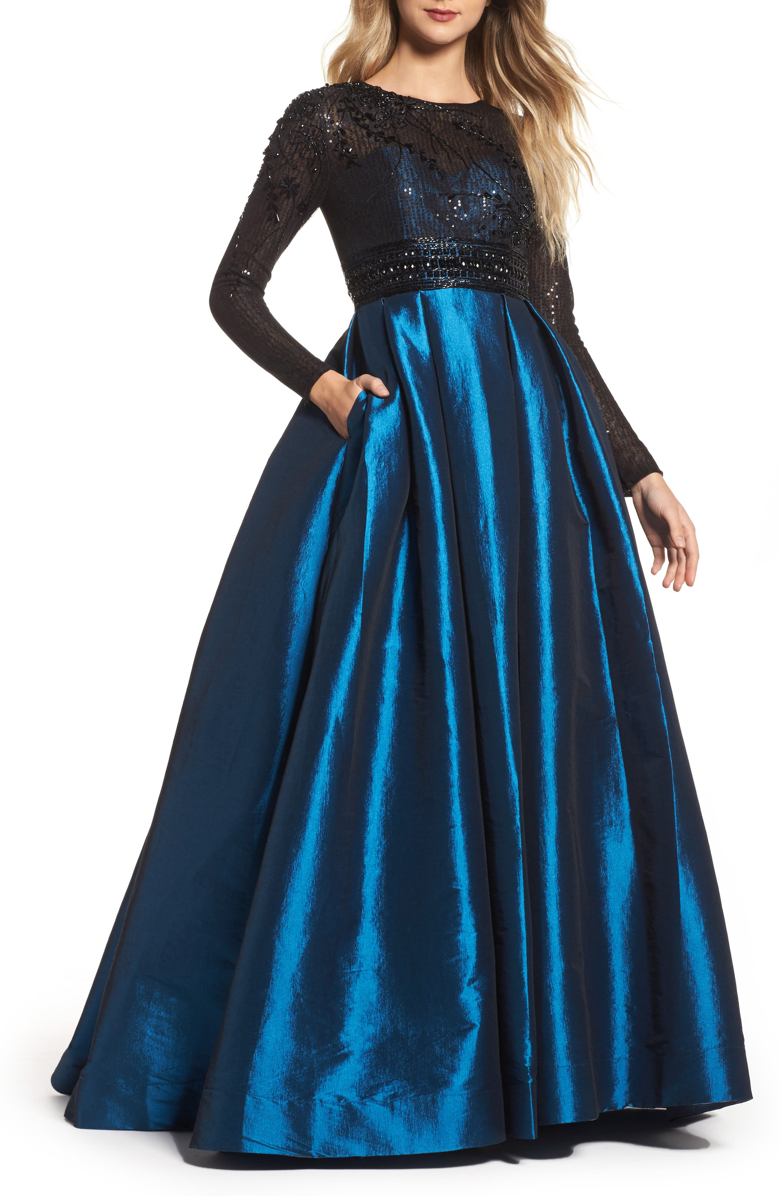MAC DUGGAL Sequin Embellished High-Neck Illusion Long-Sleeve Taffeta Ball Gown in Teal