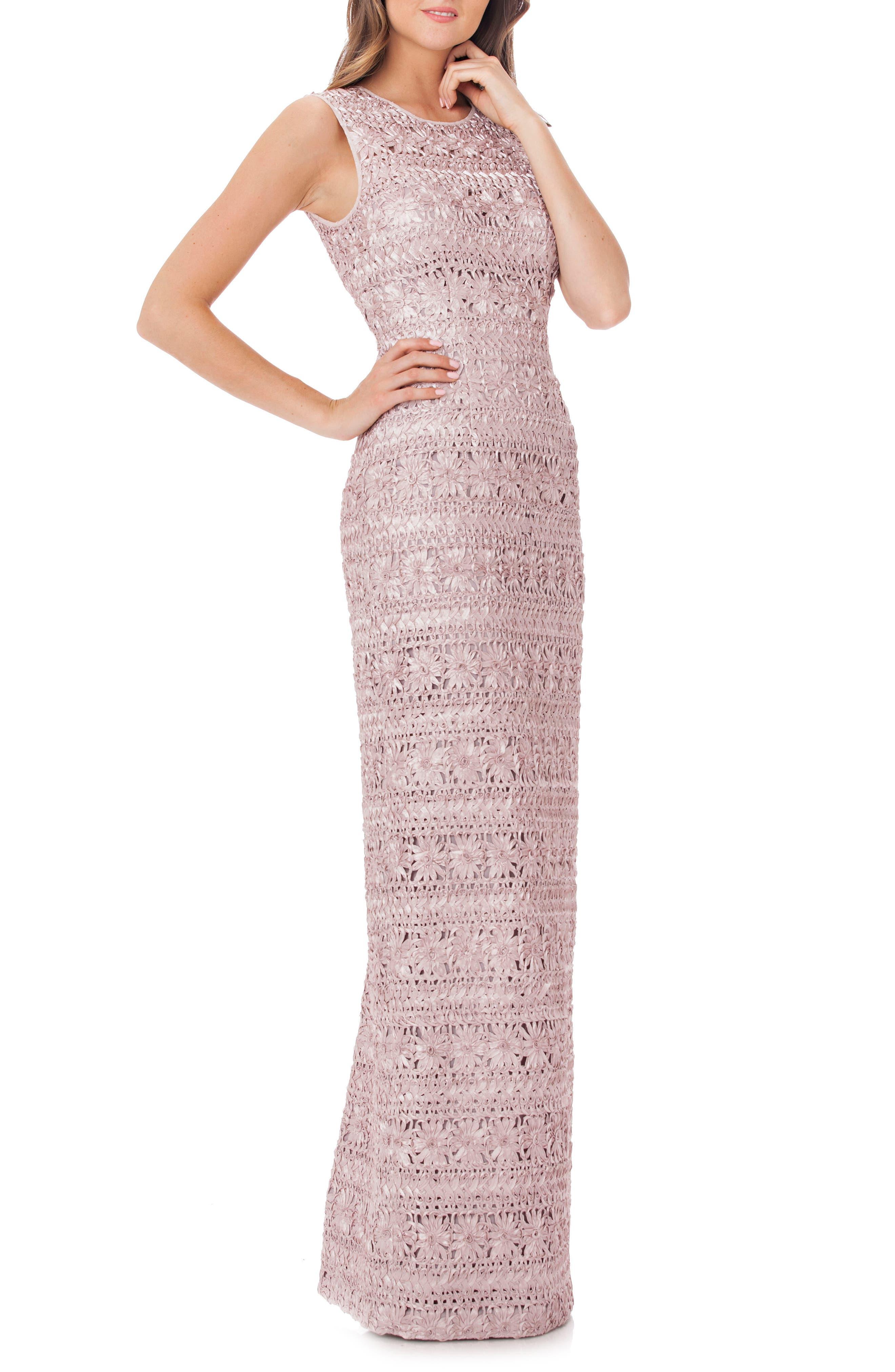 Cutout Back Soutache Gown,                         Main,                         color, Blush