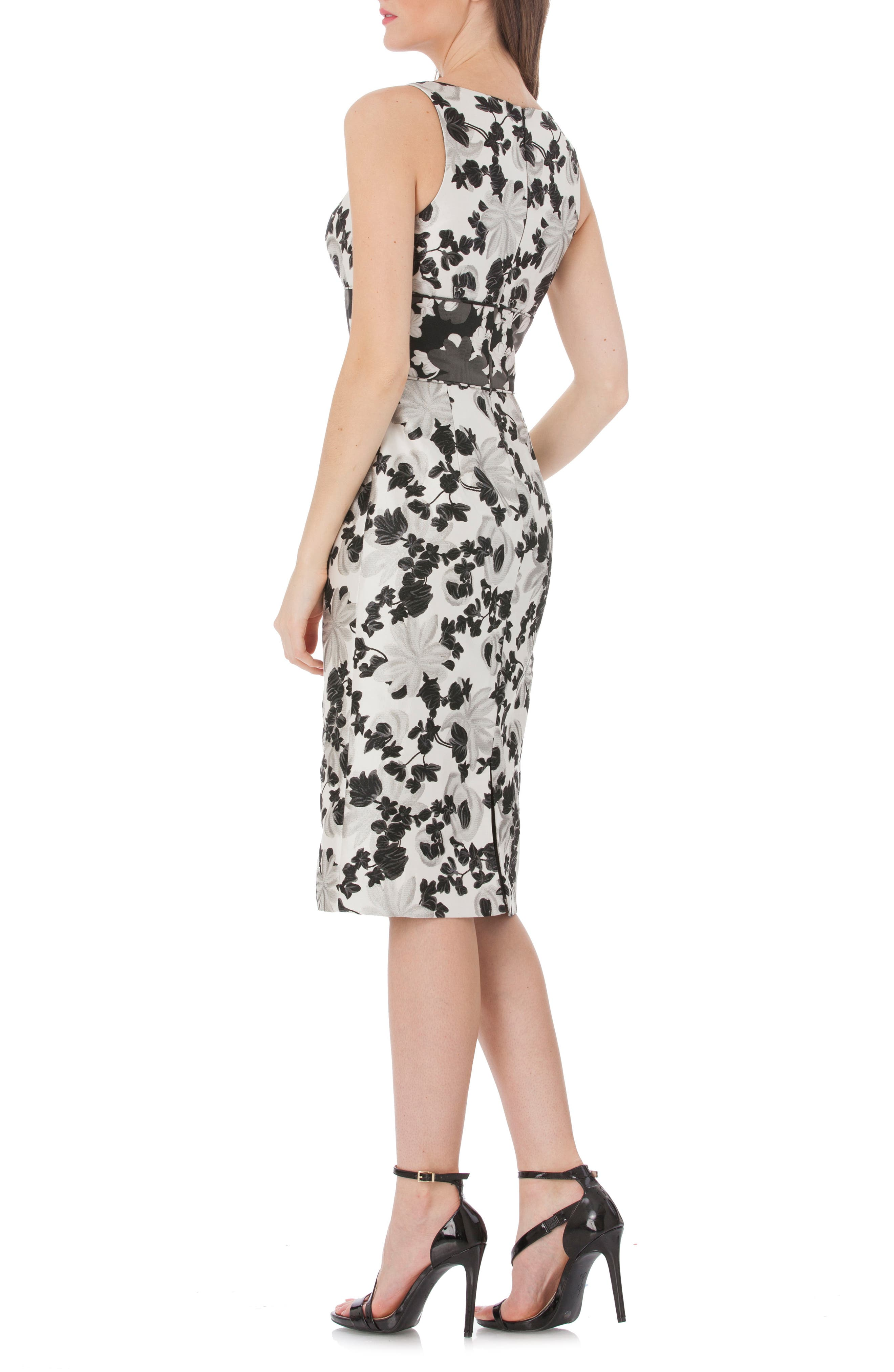 Floral V-Neck Sheath Dress,                             Alternate thumbnail 2, color,                             Black/ White