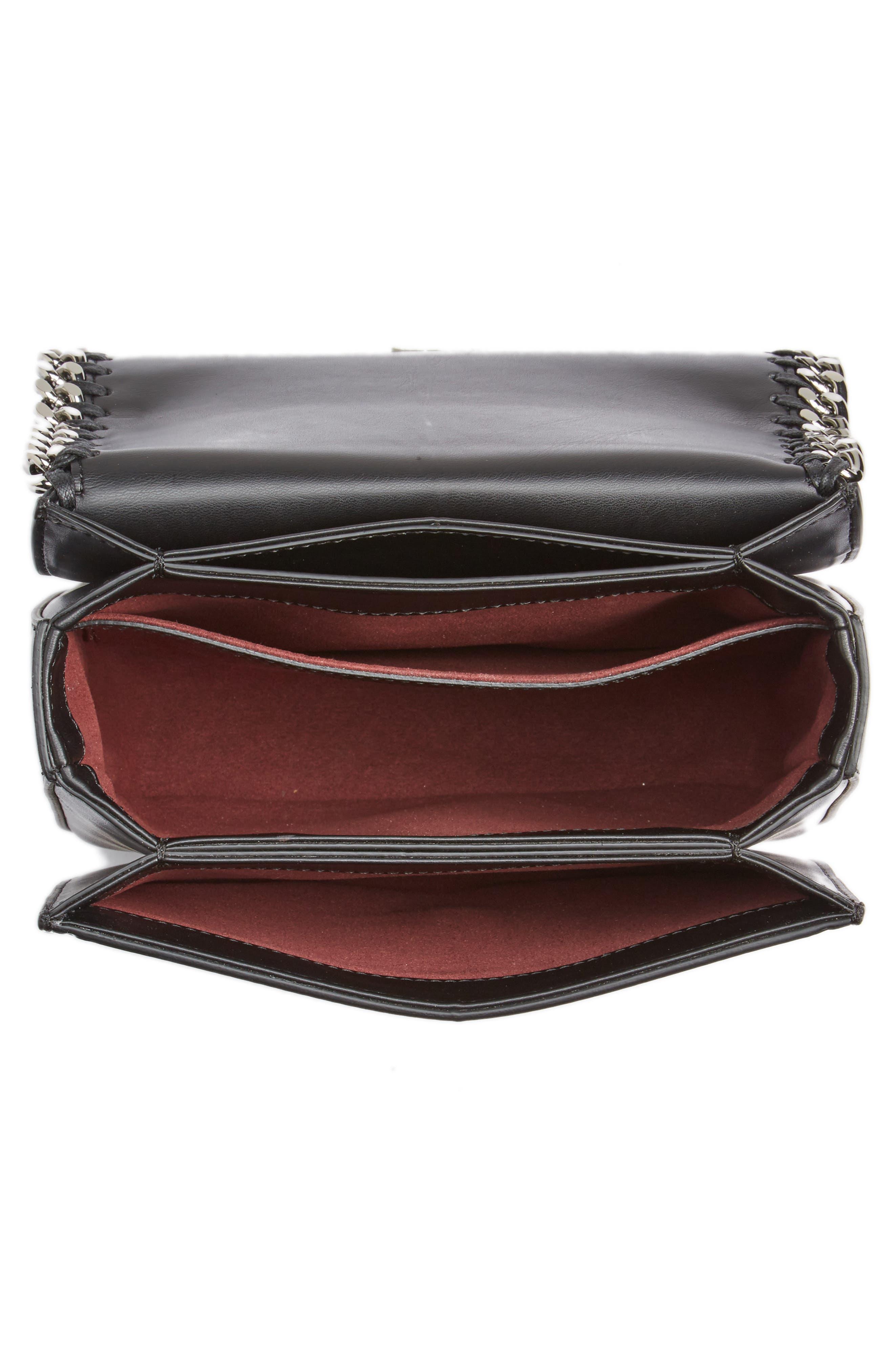 Small Falabella Box Alter Nappa Faux Leather Crossbody Bag,                             Alternate thumbnail 4, color,                             Black/ Black
