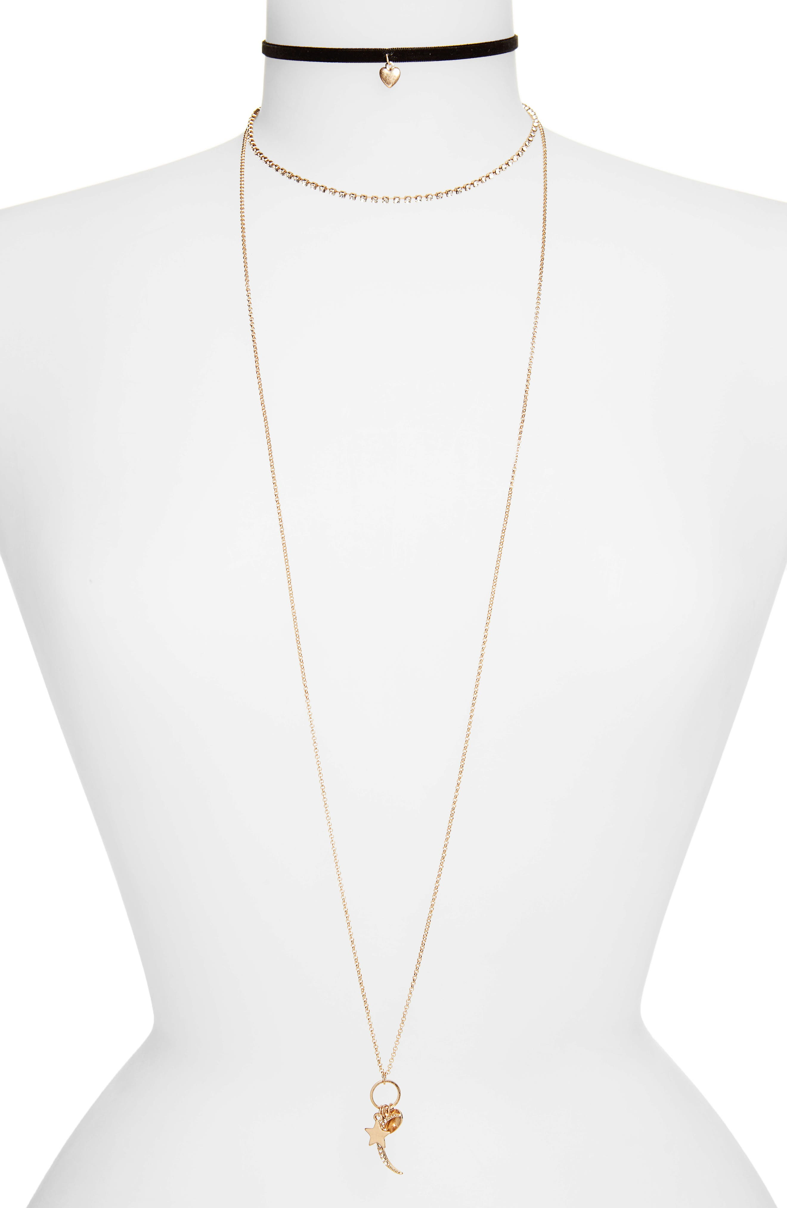 Main Image - Topshop Hearts & Star Necklaces (Set of 2)