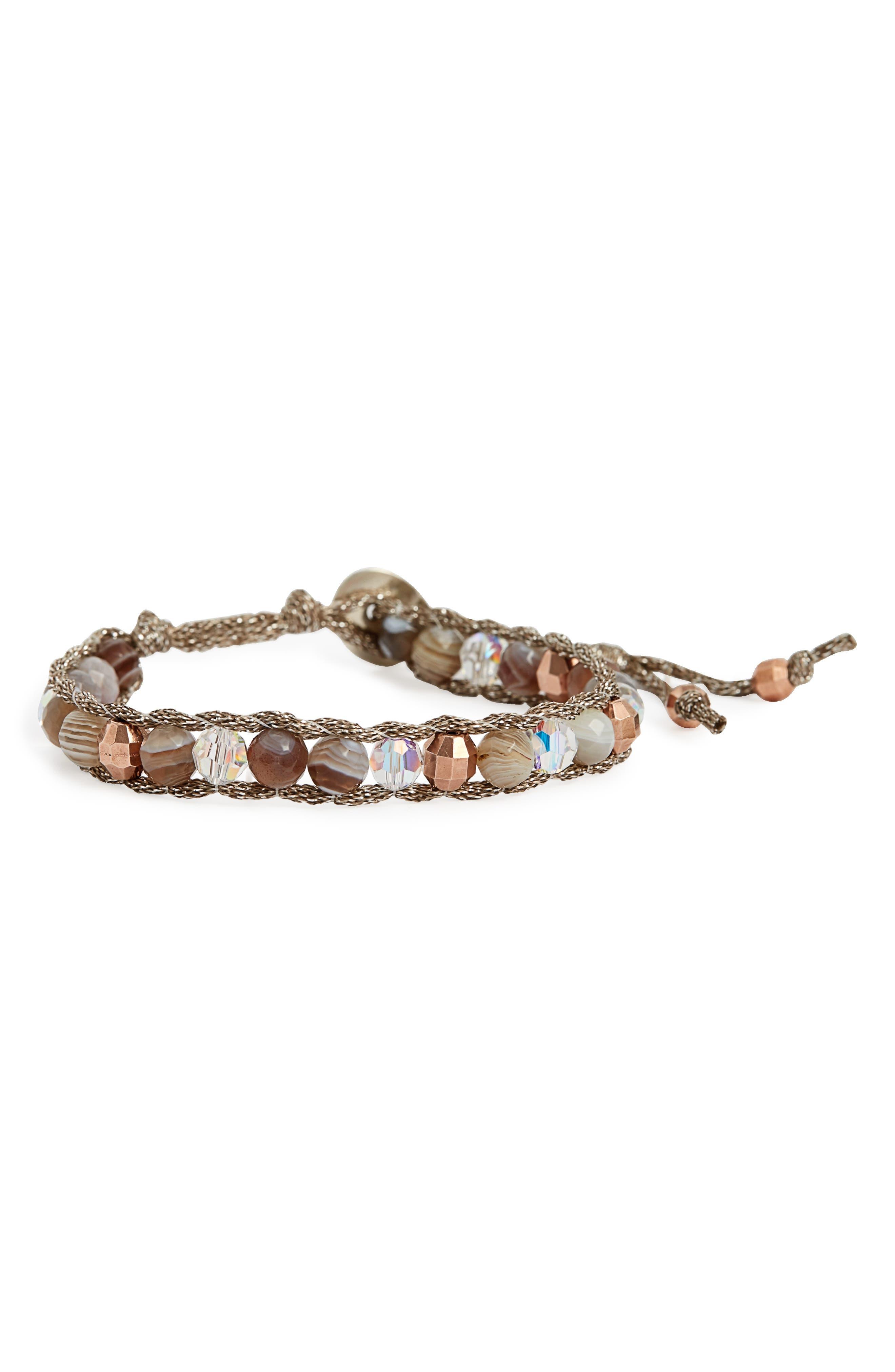 Agate & Crystal Bracelet,                             Main thumbnail 1, color,                             Botswana Agate