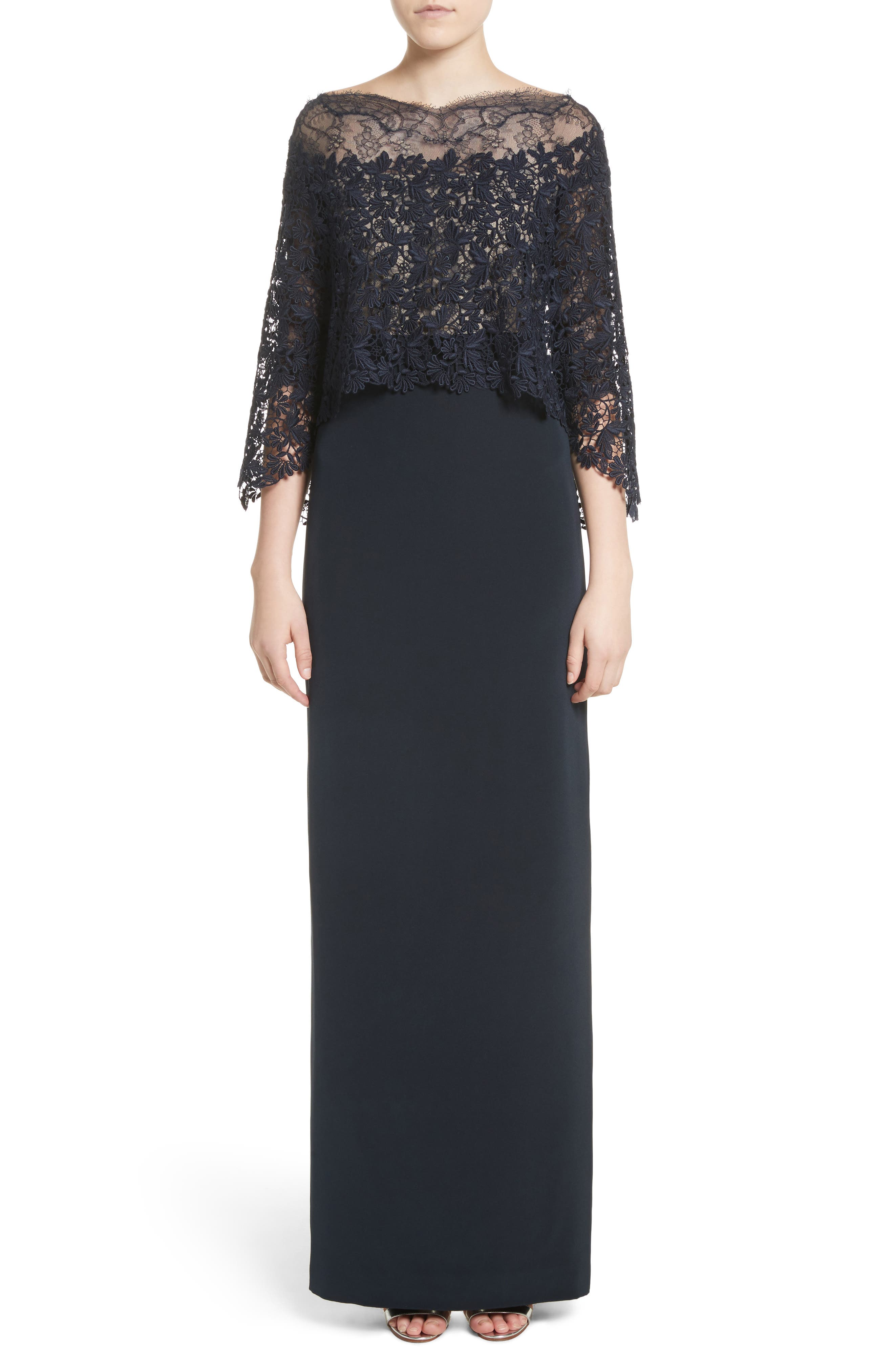 Column Gown with Integrated Lace Capelet,                             Main thumbnail 1, color,                             Midnight