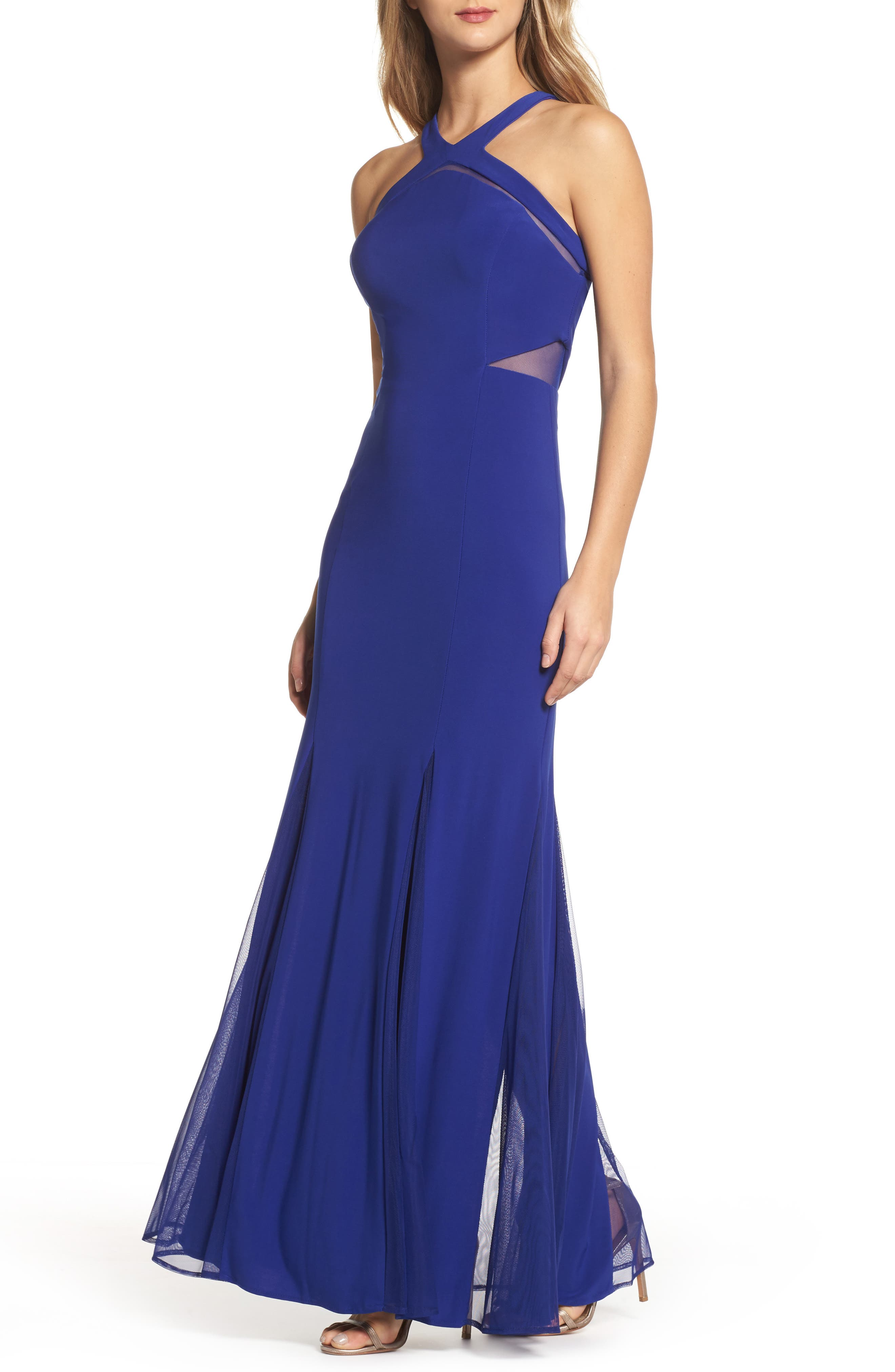 Main Image - Morgan & Co. Mesh Inset Knit Mermaid Gown