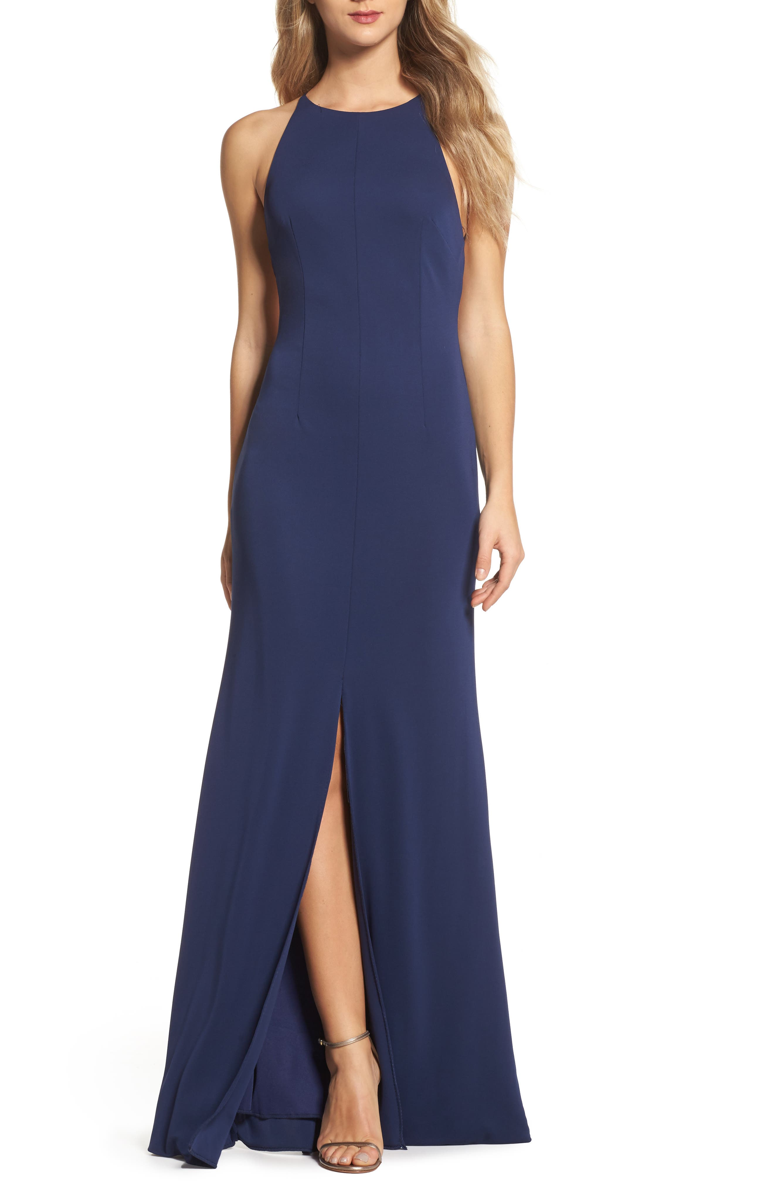 Victoria Sleeveless Gown,                         Main,                         color, Navy