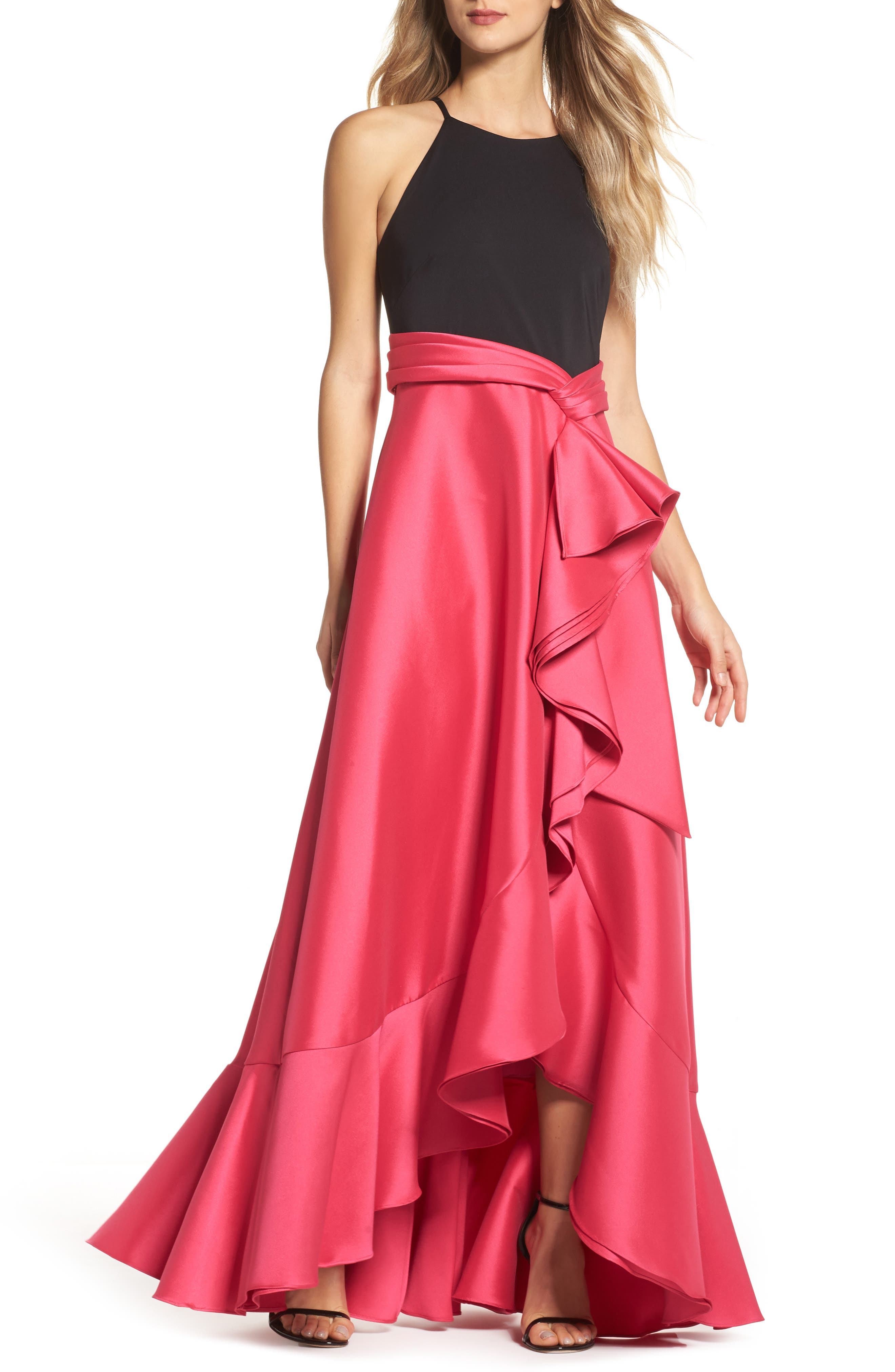 Two-Tone Ruffle Gown,                             Main thumbnail 1, color,                             Black Raspberry