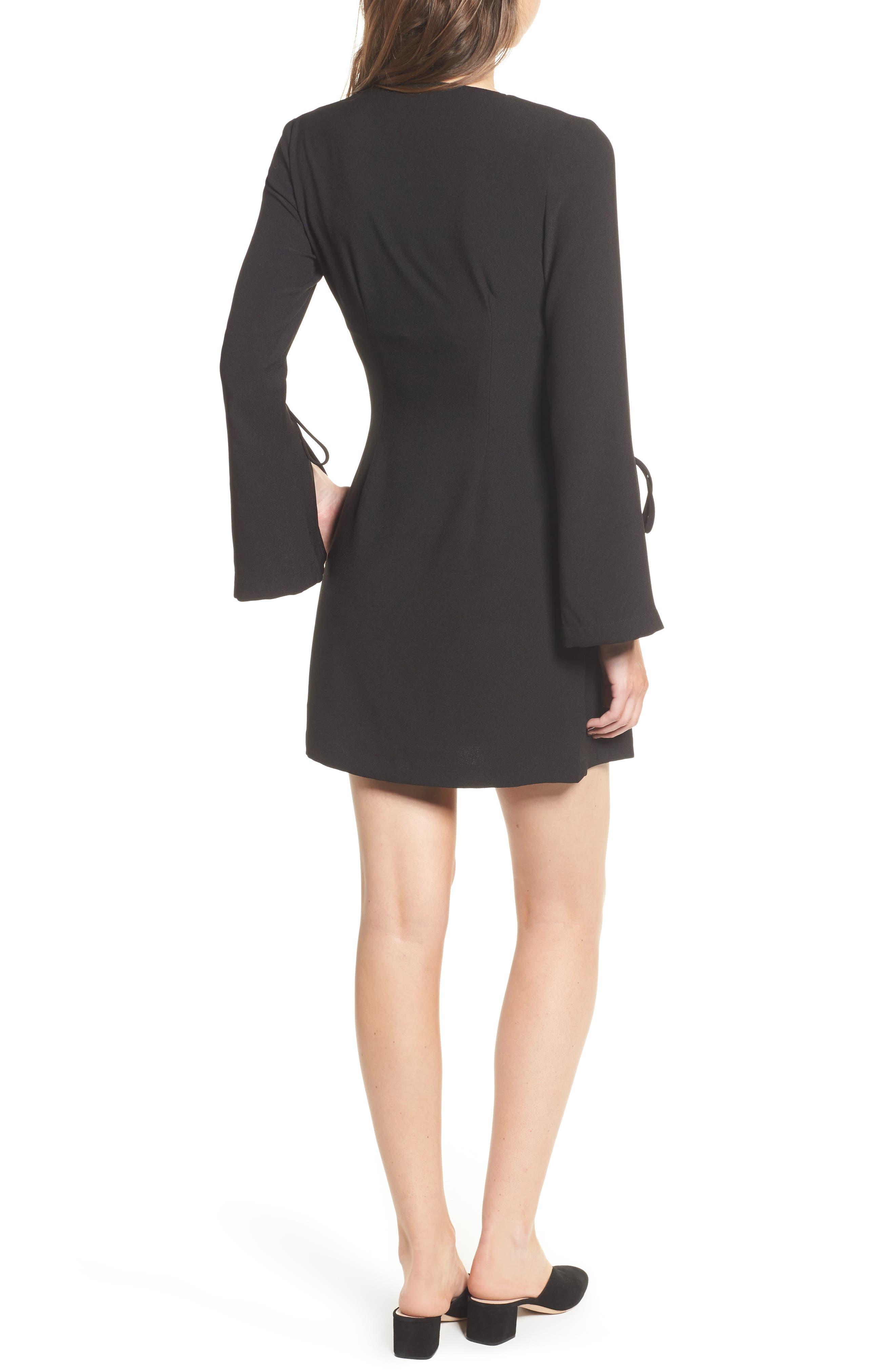 Jeanne Split Sleeve Minidress,                             Alternate thumbnail 2, color,                             Black