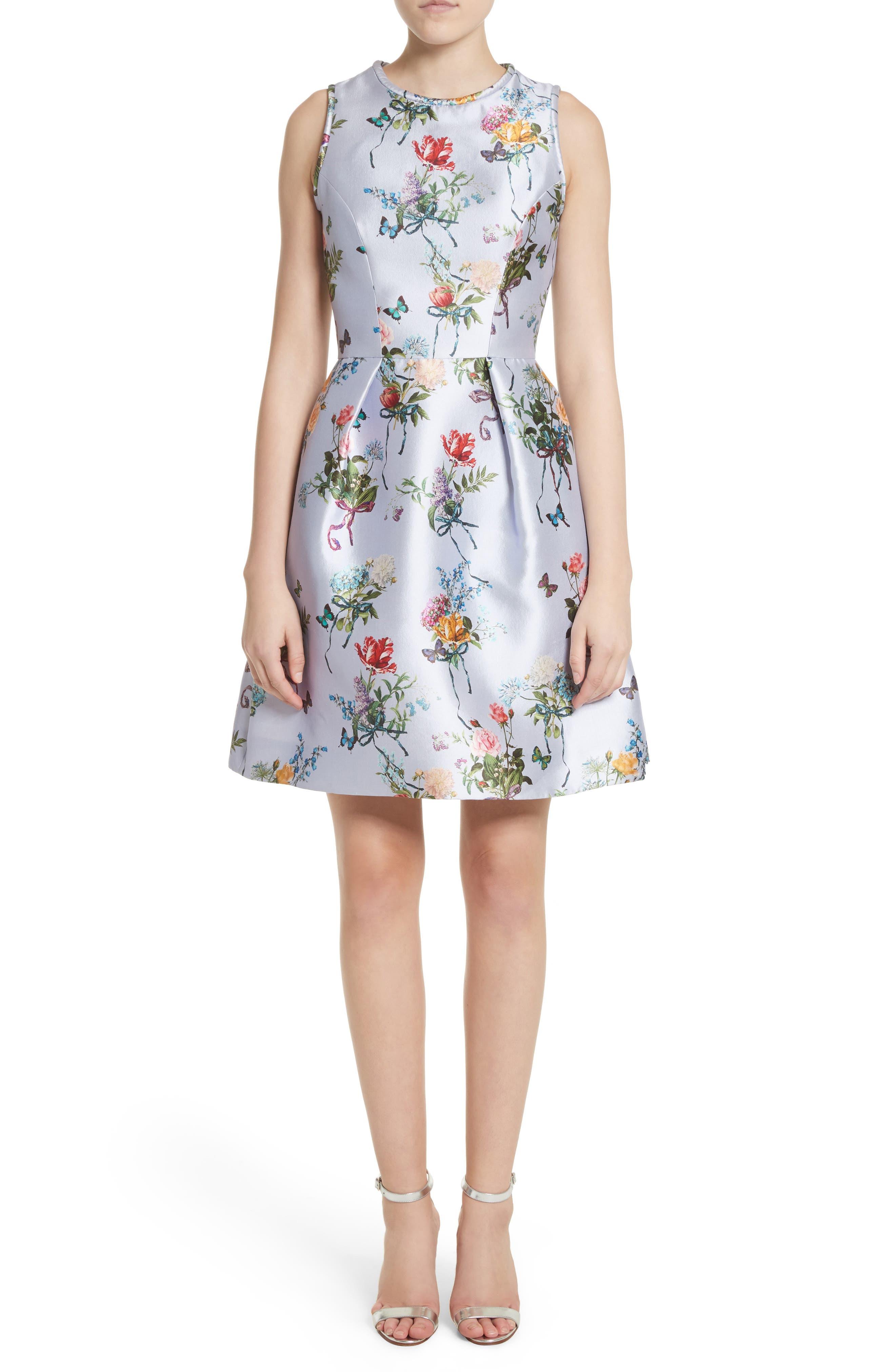 Botantical Print Structured Twill Dress,                             Main thumbnail 1, color,                             Lavender Multi