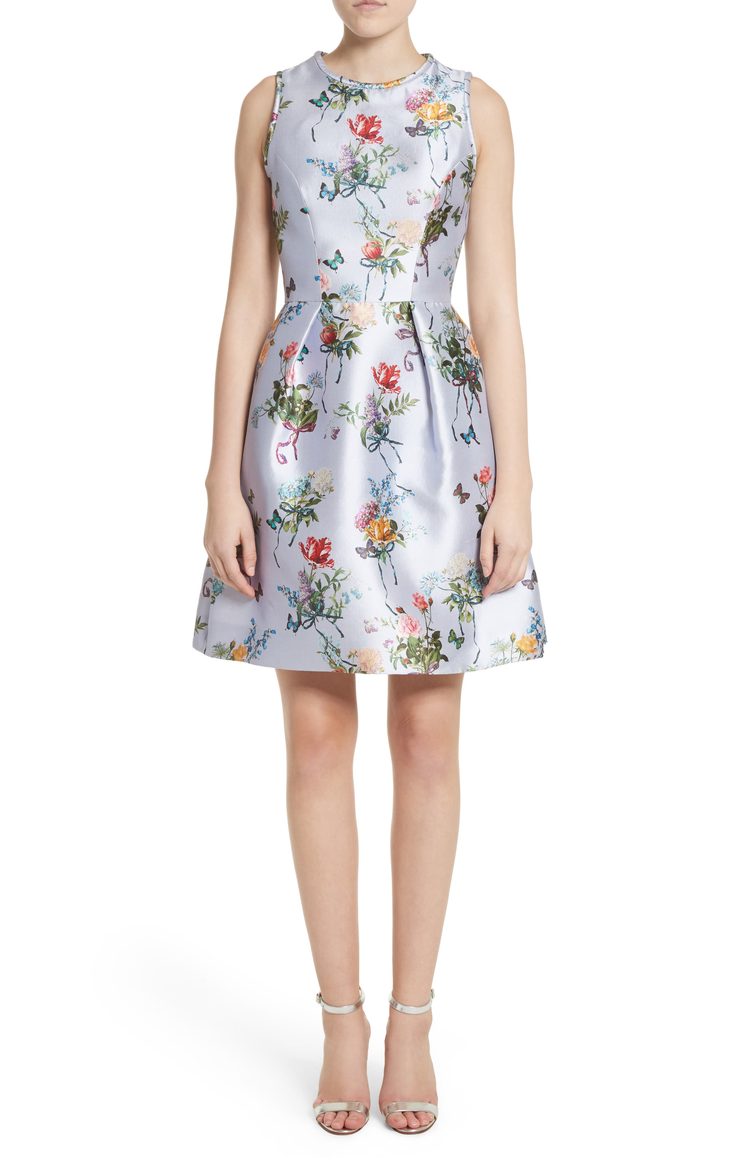 Monique Lhuillier Botantical Print Structured Twill Dress