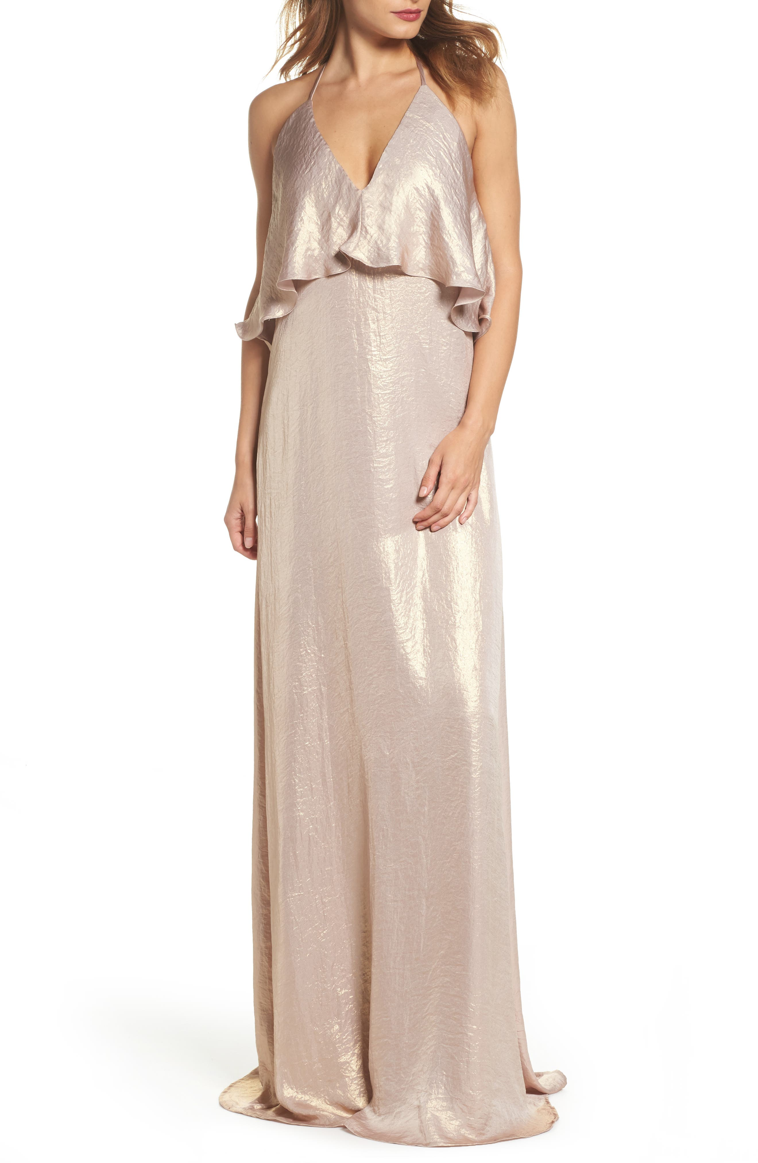 Crushed Satin Popover Halter Gown,                         Main,                         color, Rose Gold