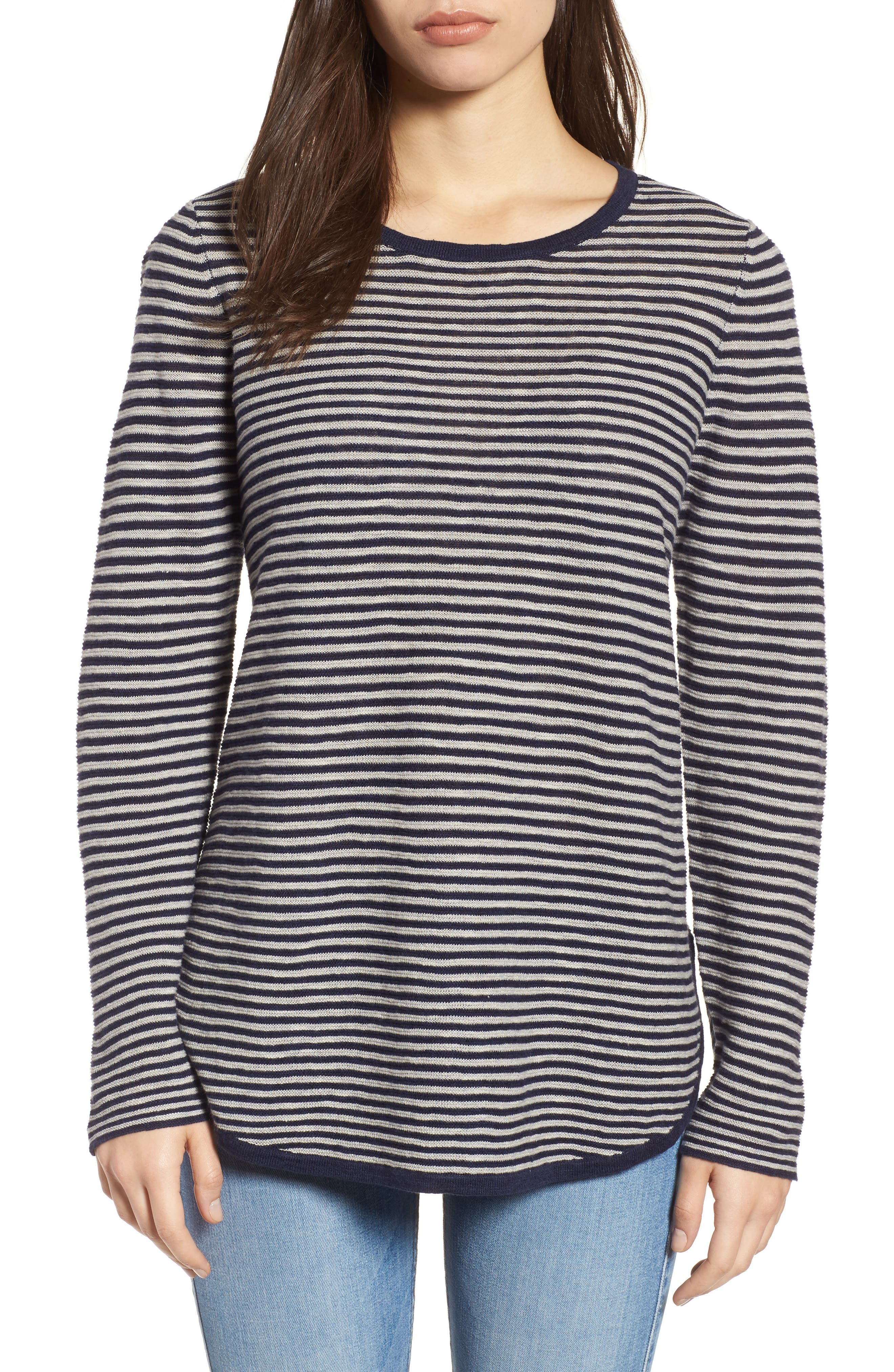 Stripe Organic Linen & Cotton Sweater,                         Main,                         color, Midnight