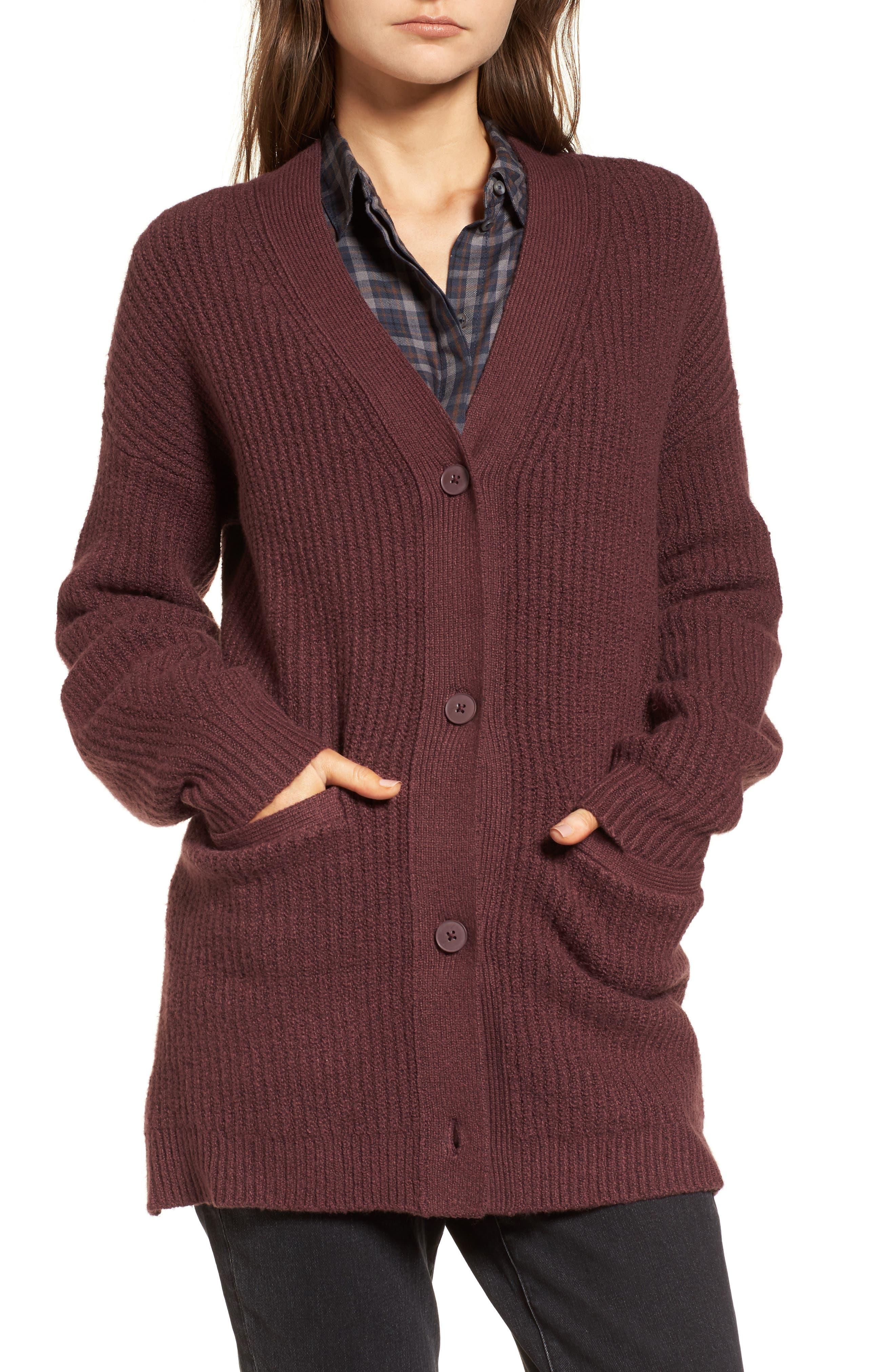 Ribbed Cardigan Sweater,                             Alternate thumbnail 4, color,                             Burgundy Fudge
