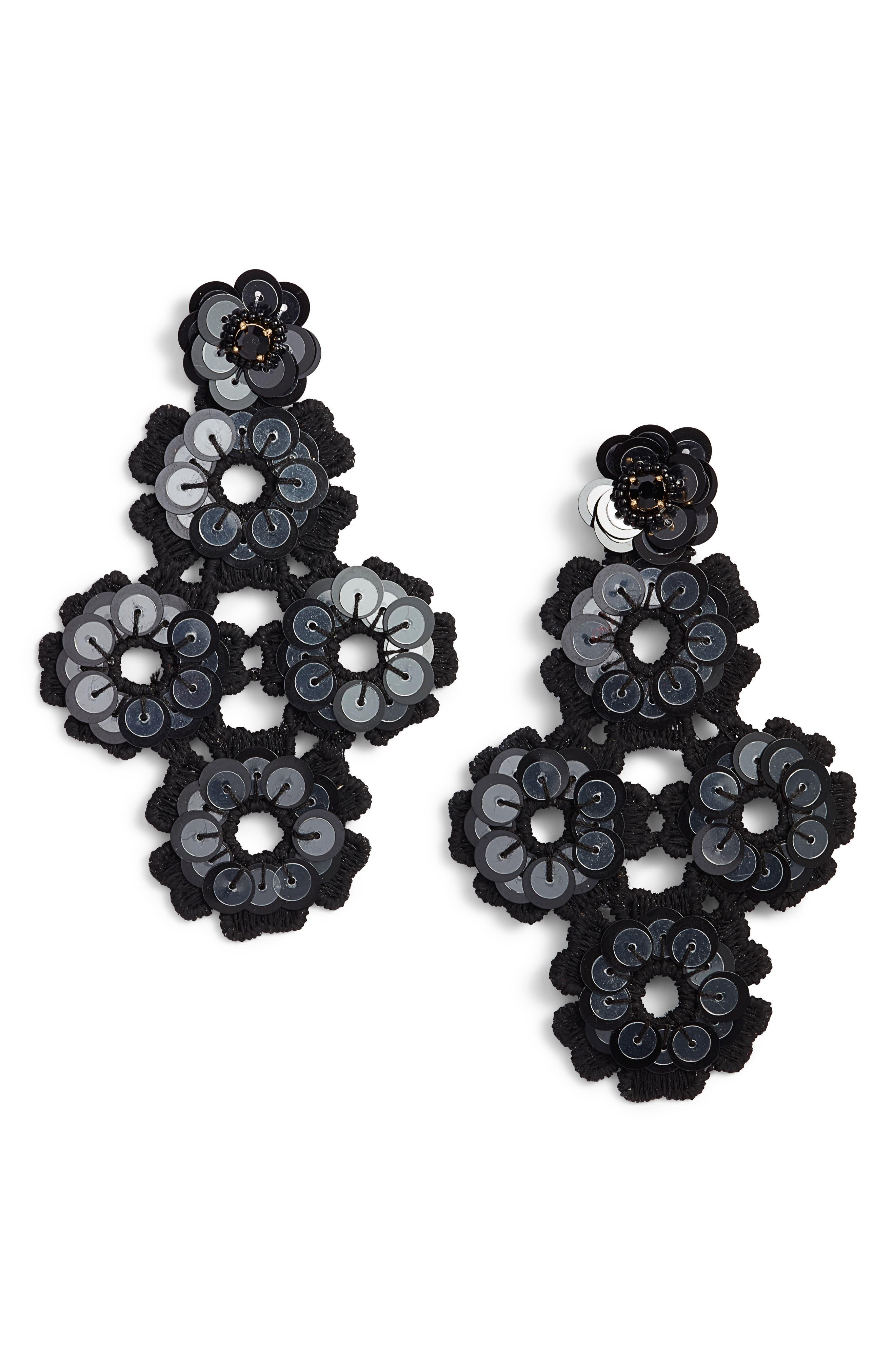 posy grove sequin statement earrings,                         Main,                         color, Black Multi